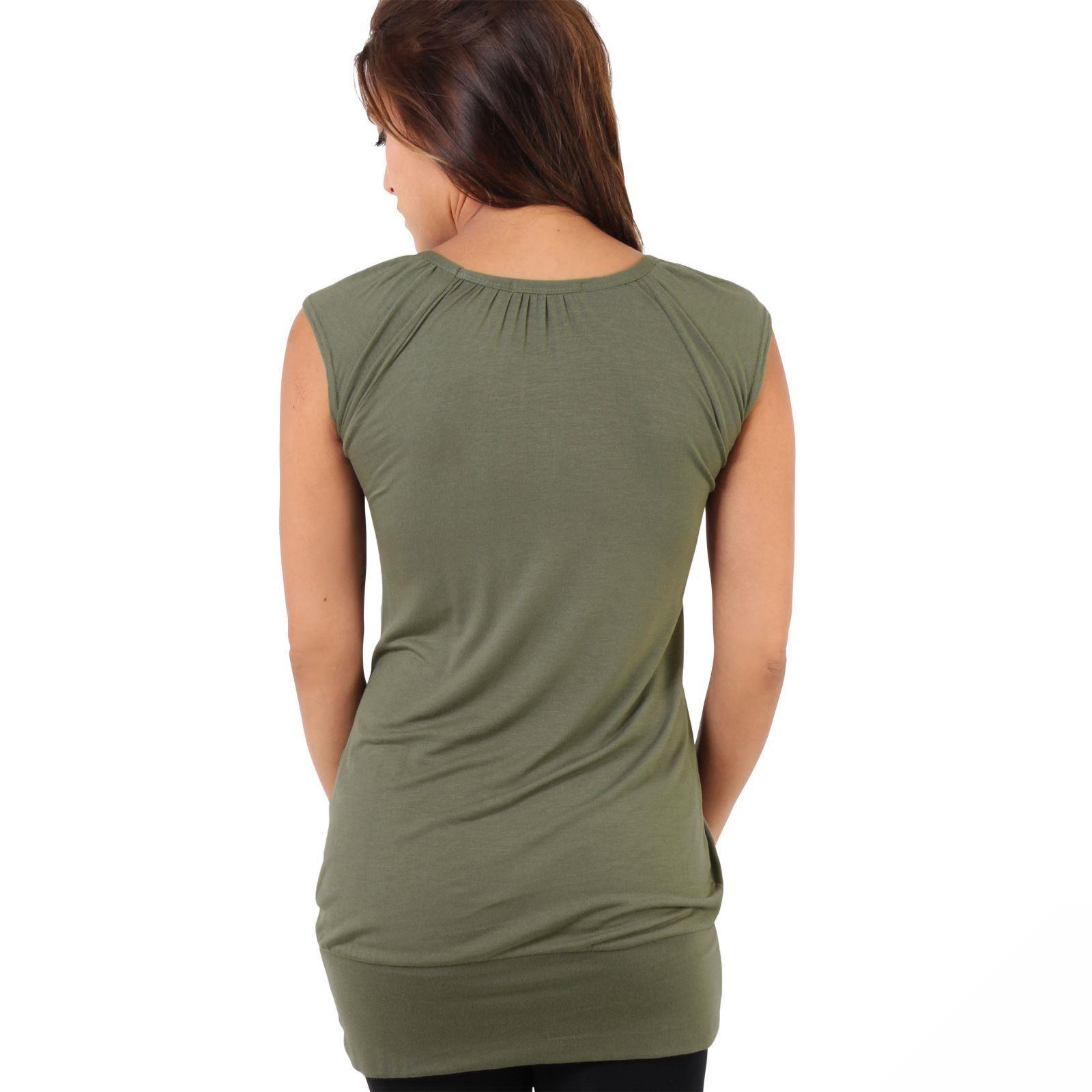 Womens-Ladies-Plain-T-Shirt-Short-Sleeve-Long-Loose-V-Neck-Blouse-Tunic-Top thumbnail 26