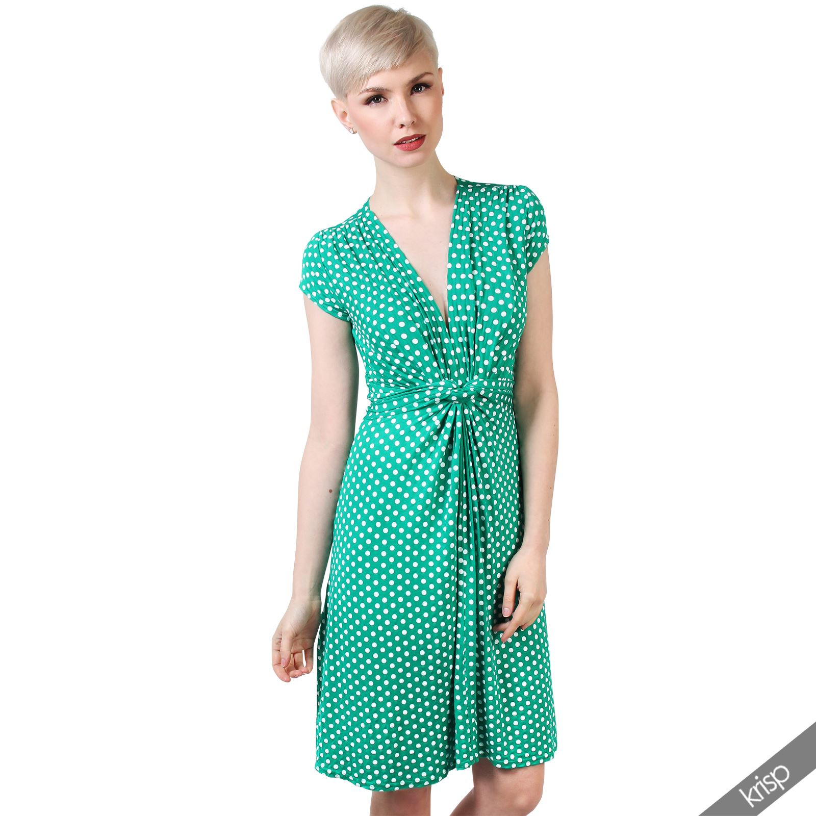 Womens-Polka-Dot-Retro-Dress-Pleated-Skirt-Wrap-Mini-V-Neck-Top-Swing-Party thumbnail 12