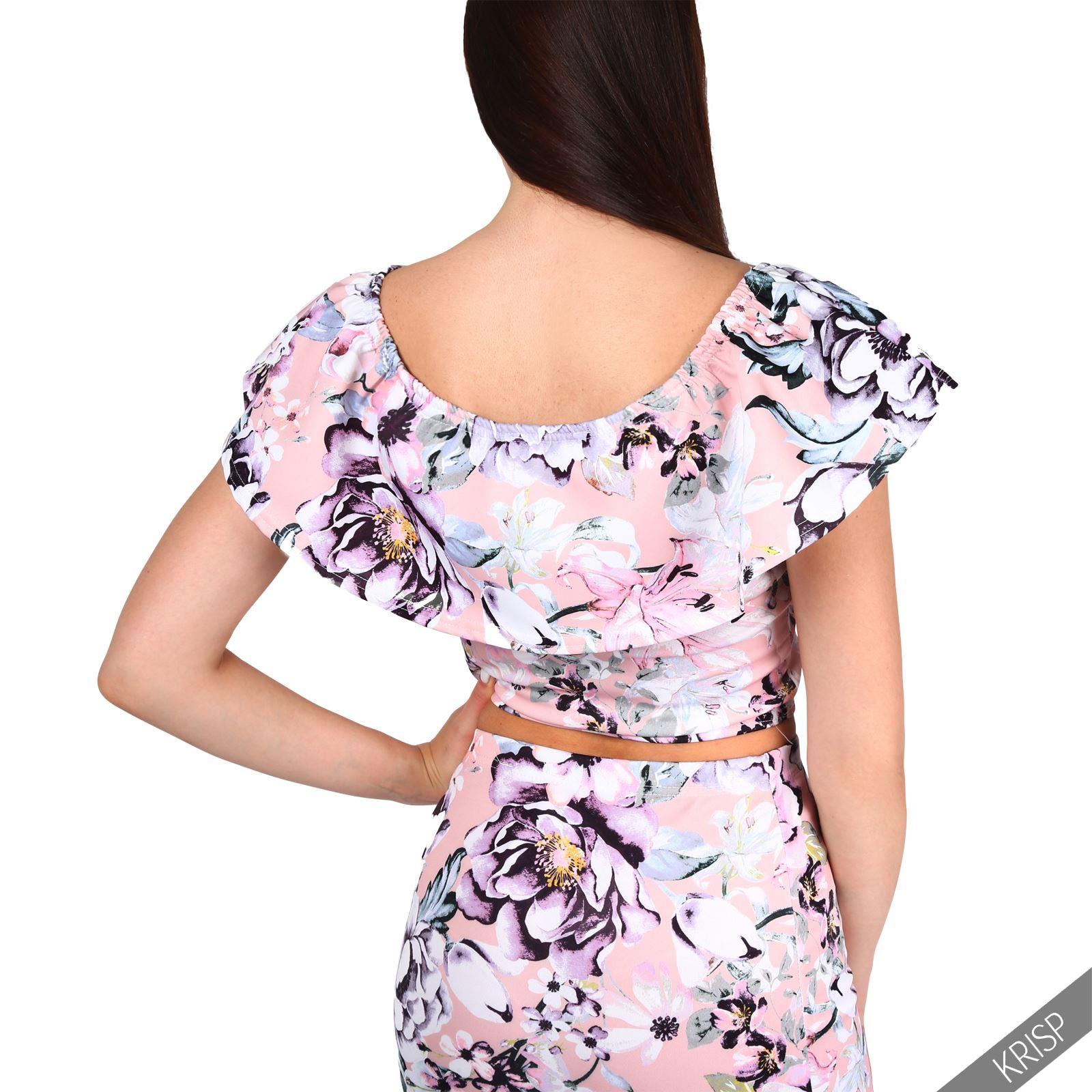 Crop-Top-Mujer-Corto-Flores-Volante-Hombros-Ombligo-Camiseta-Verano-2017-Joven