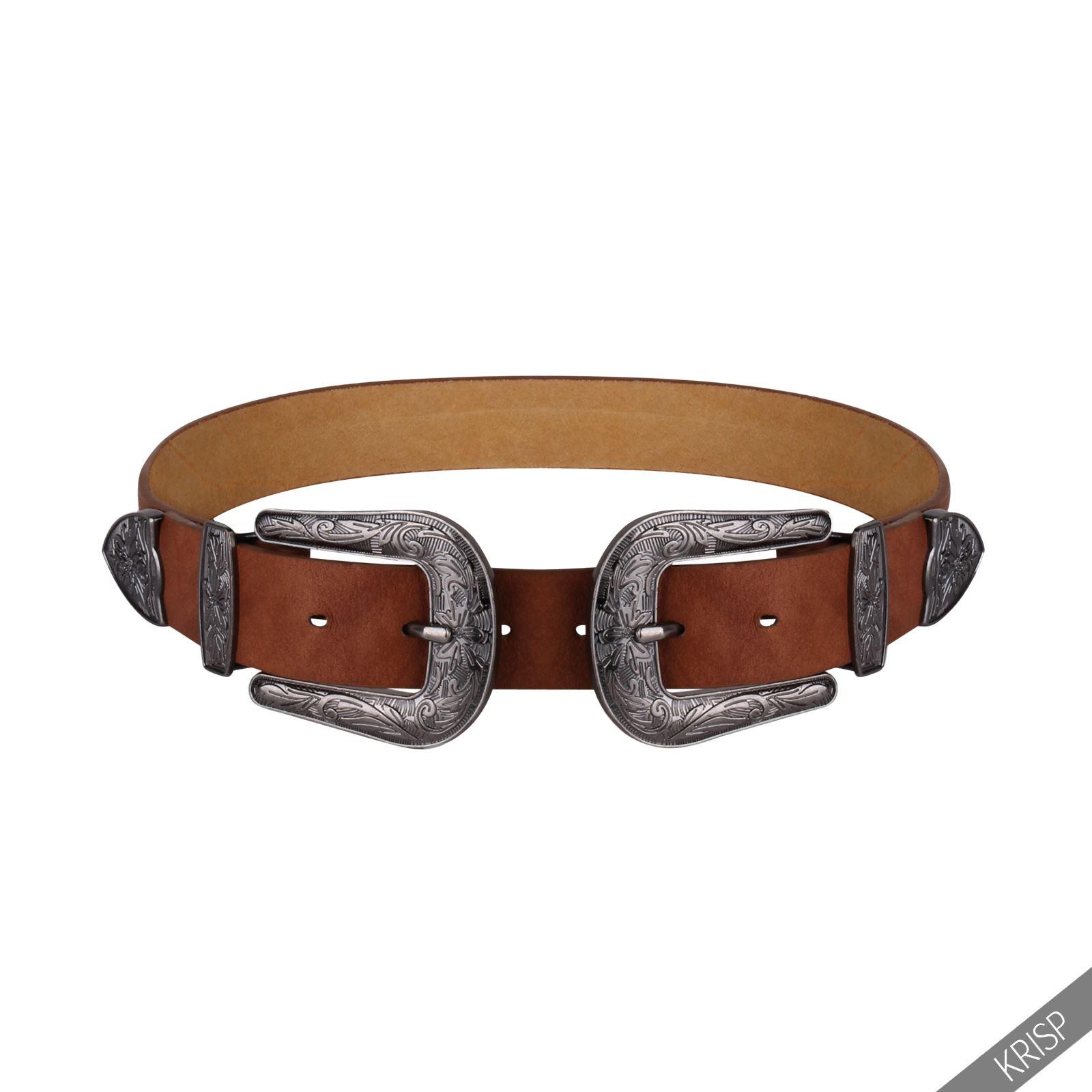 femmes ceinture double boucles m tal western cuir. Black Bedroom Furniture Sets. Home Design Ideas