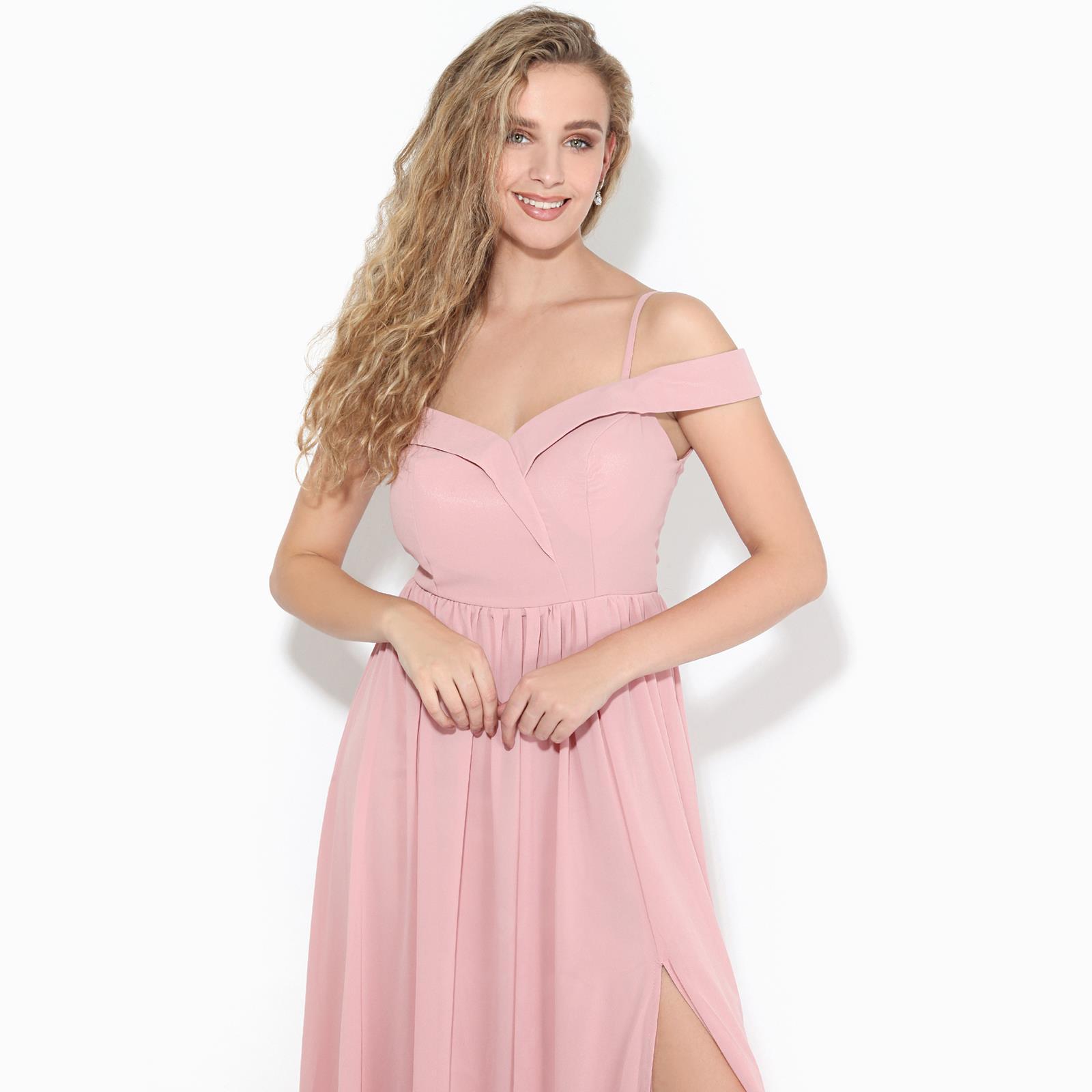 Womens-Ladies-Off-Shoulder-Formal-Maxi-Dress-Slit-Split-Long-Gown-Wedding-Party thumbnail 3