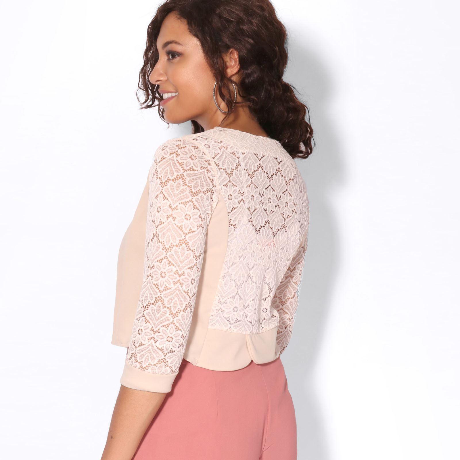Womens-Ladies-Bolero-Lace-Shrug-Short-Sleeve-Cardigan-Cropped-Party-Top-Jacket thumbnail 21