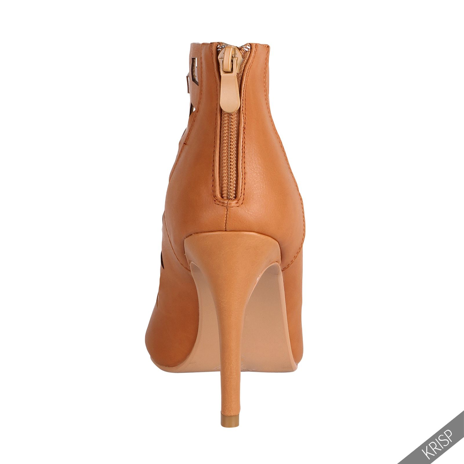 cut out high heel peep toe ankle boots