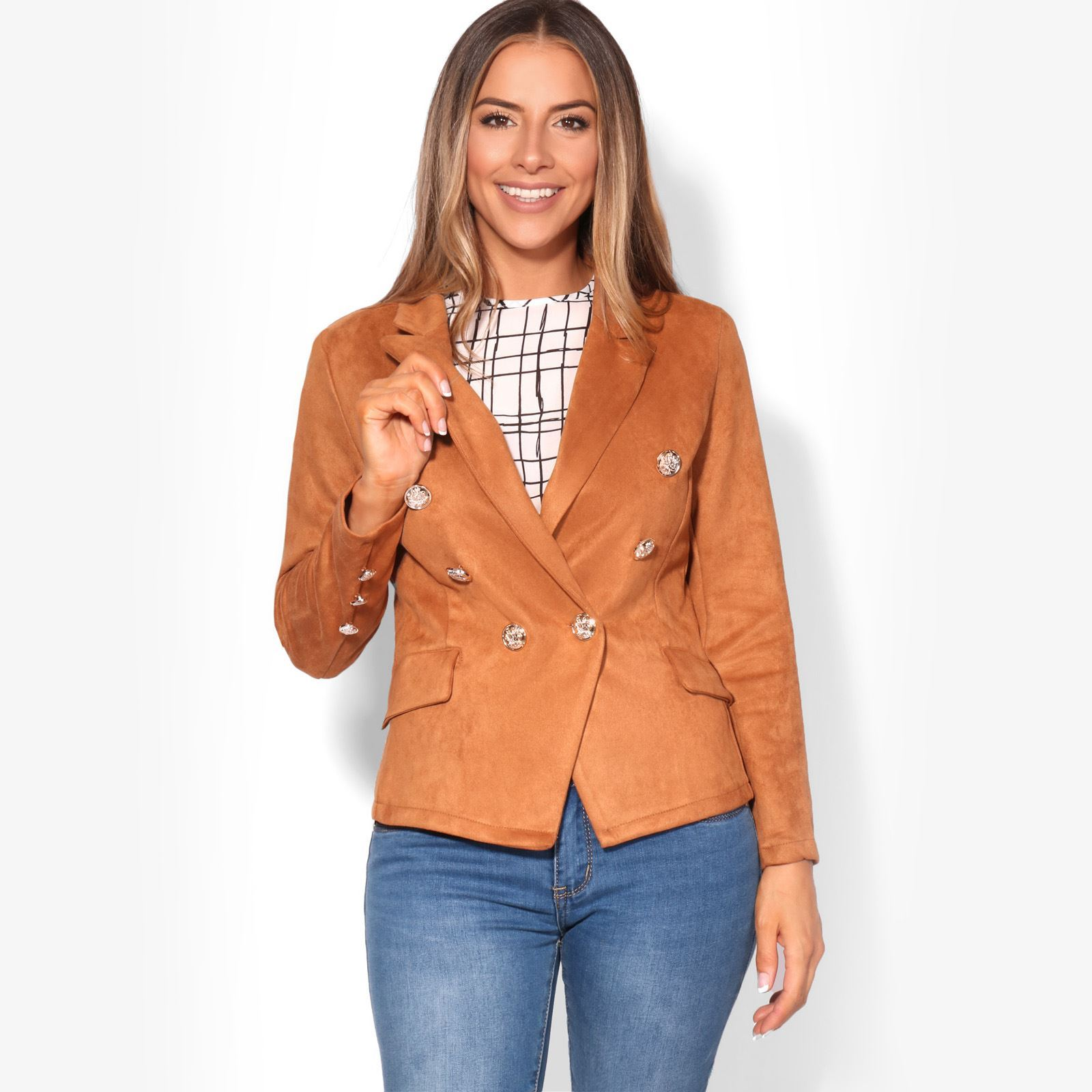 a1cd1b8bf5f17 Details about Women Faux Suede Jacket Blazer Ladies Fitted Buttoned  Military Lapel Coat