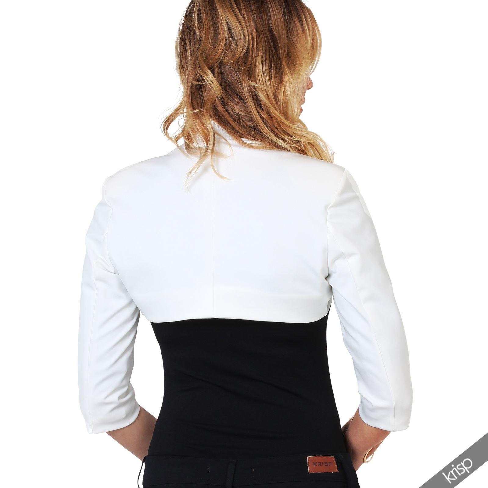 Womens-Tailored-Bolero-Shrug-Cropped-Top-Short-Sleeve-Party-Blazer-Jacket-Coat thumbnail 24