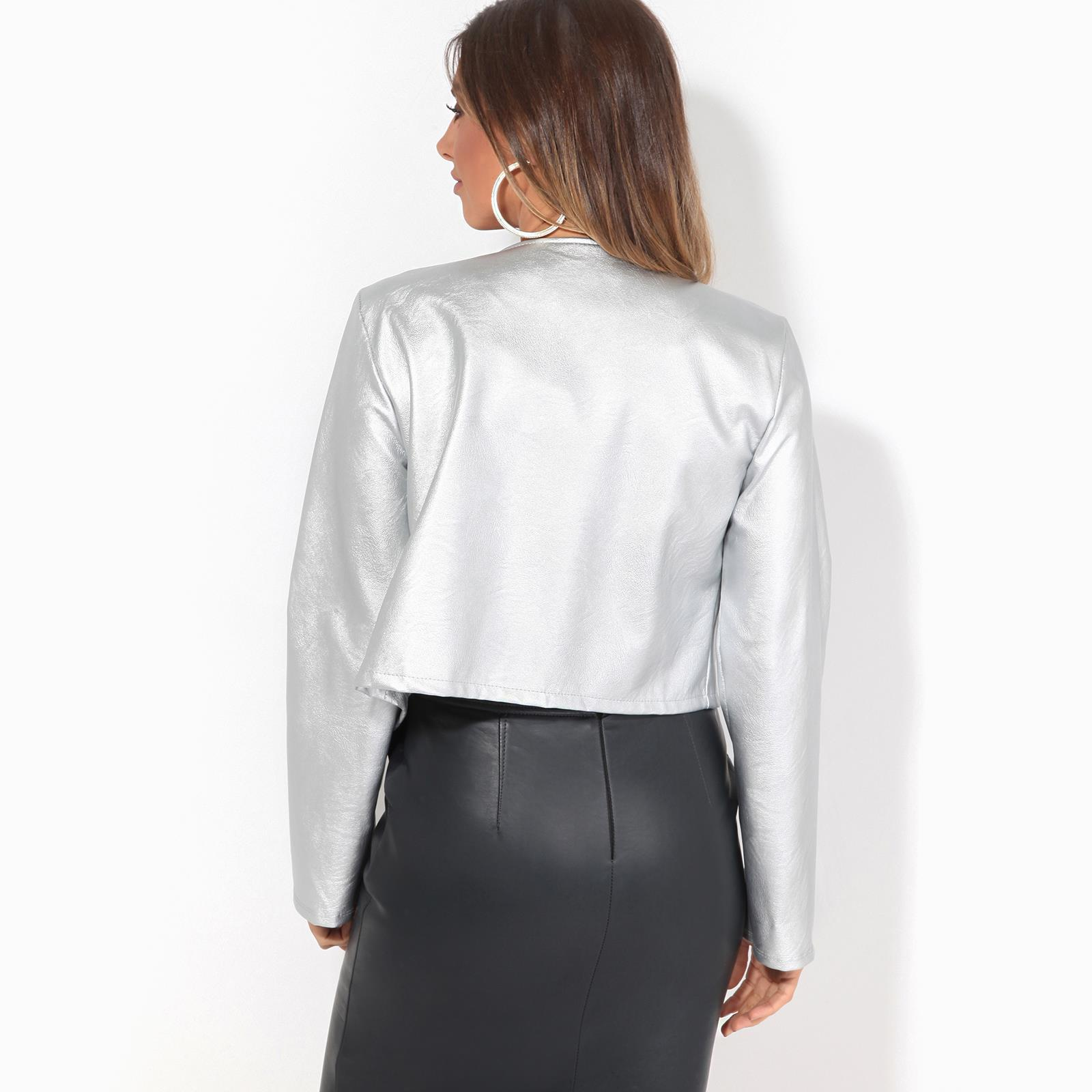 Womens-Ladies-PU-Leather-Biker-Jacket-Open-Bolero-Short-Coat-Shrug-Cropped-Top thumbnail 13