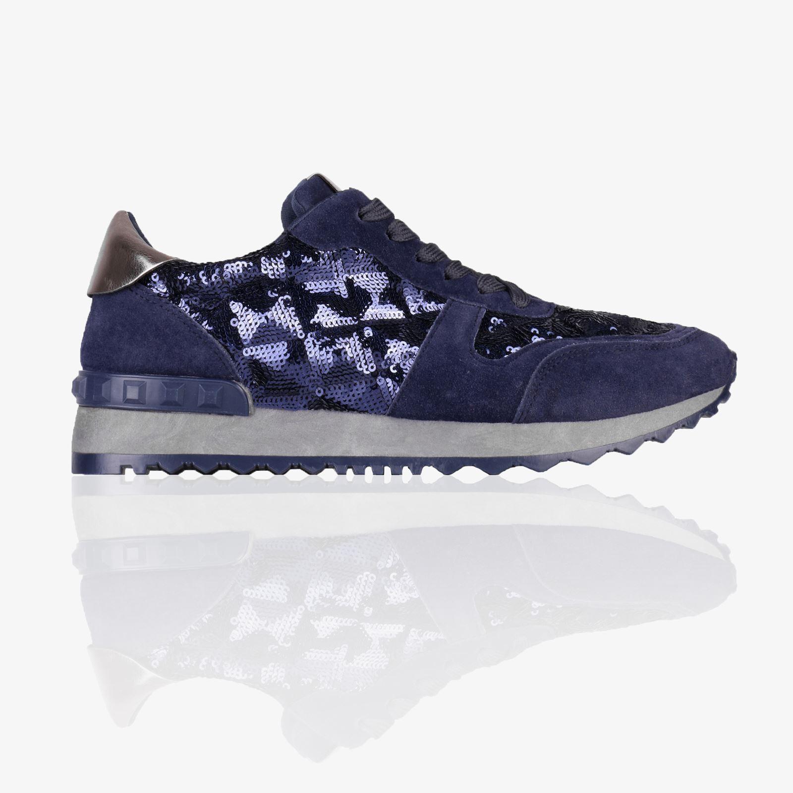 Womens Ladies Rock Stud Heel Sequin Trainers Light Flat Sneakers Sport Shoes 3-8