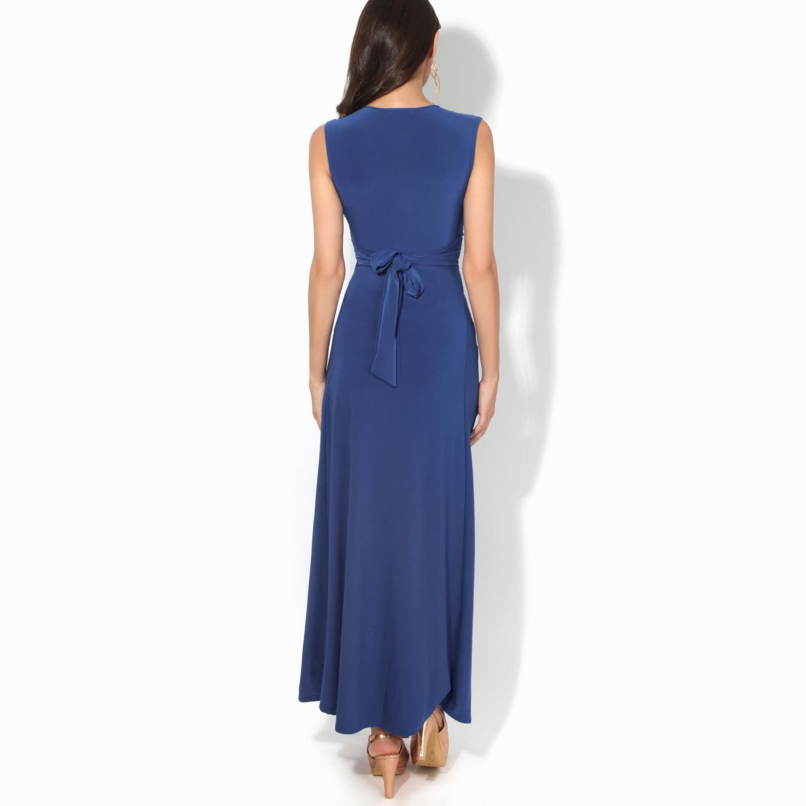 Womens-Ladies-Boho-Long-Maxi-Dress-Knot-V-Neck-Sleeveless-Pleated-Summer-Party thumbnail 10