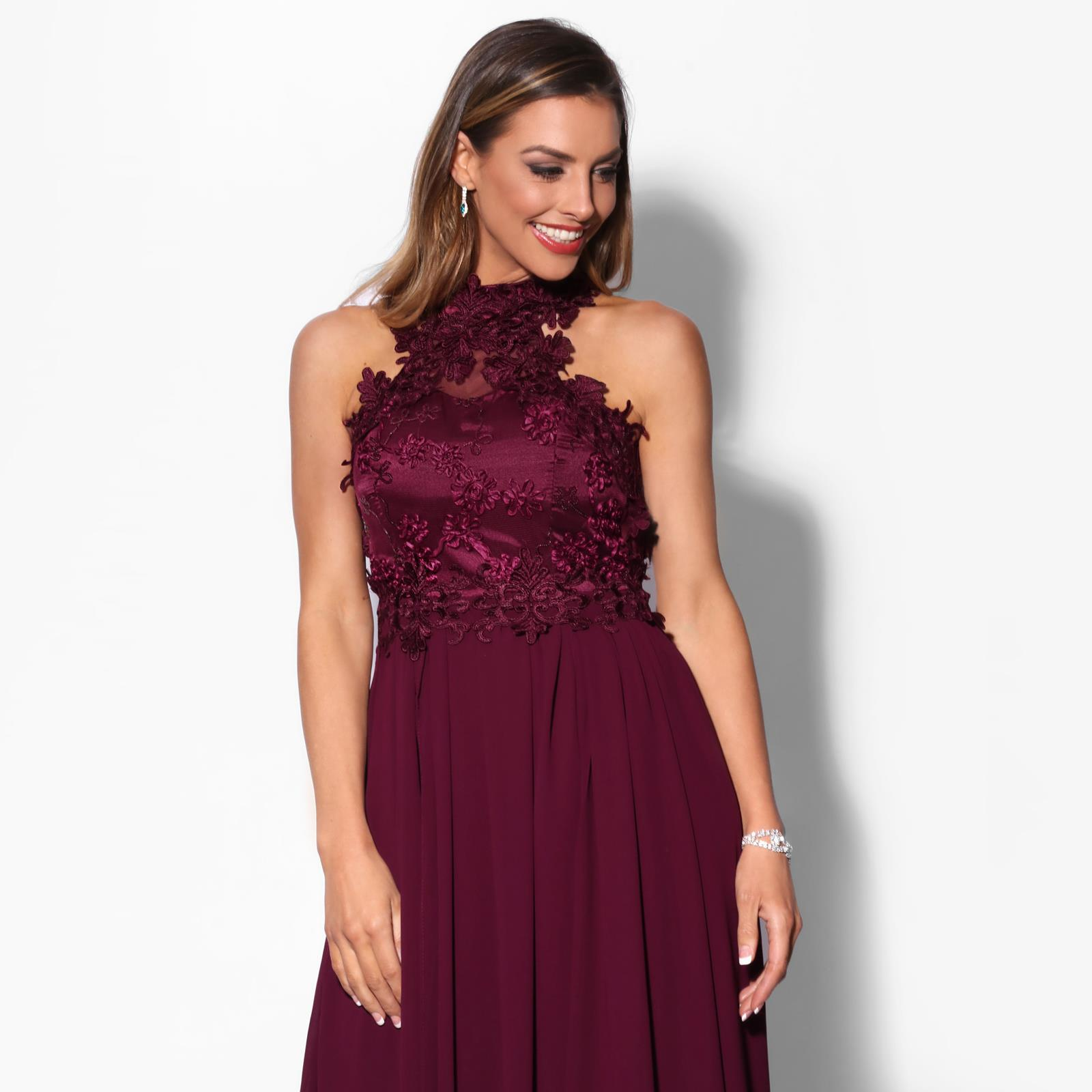 Women-Lace-Halterneck-Maxi-Dress-Long-Evening-Cocktail-Ball-Gown-Formal-Party thumbnail 12