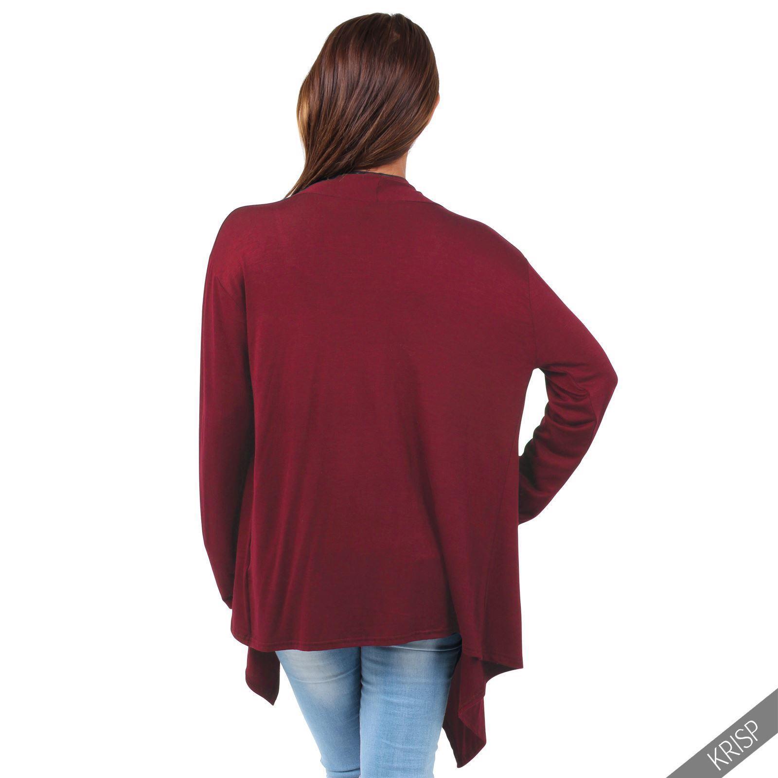 Rebeca-Mujer-Asimetrica-Chaqueta-Punto-Cascada-Abierta-Cardigan-Basico-Solapas miniatura 21