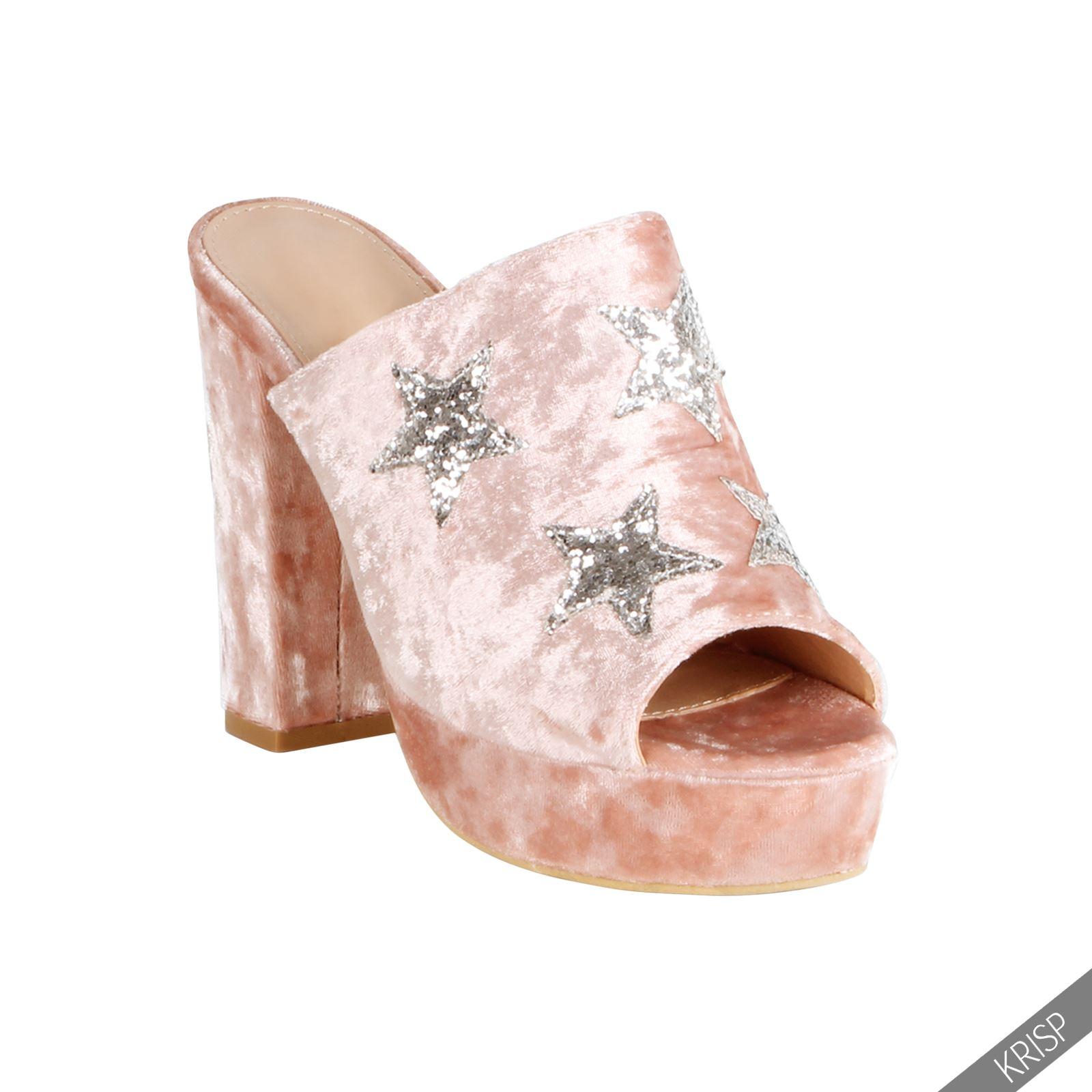 femmes sandales mules velours etoiles paillettes talon haut escarpin chaussures ebay. Black Bedroom Furniture Sets. Home Design Ideas