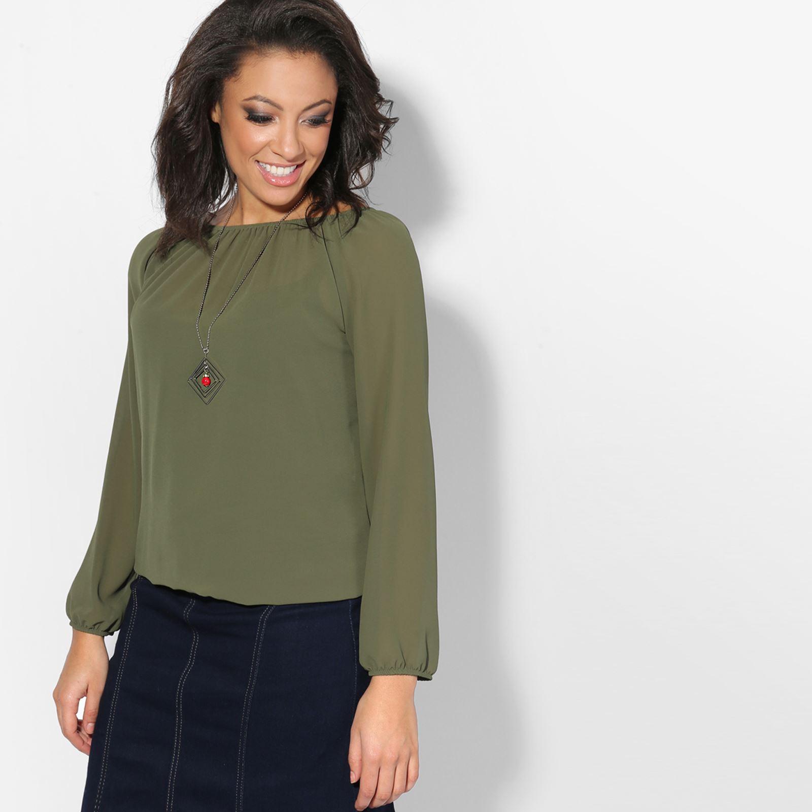 femmes top blouse t shirt haut tunique uni col bateau mousseline collier ebay. Black Bedroom Furniture Sets. Home Design Ideas