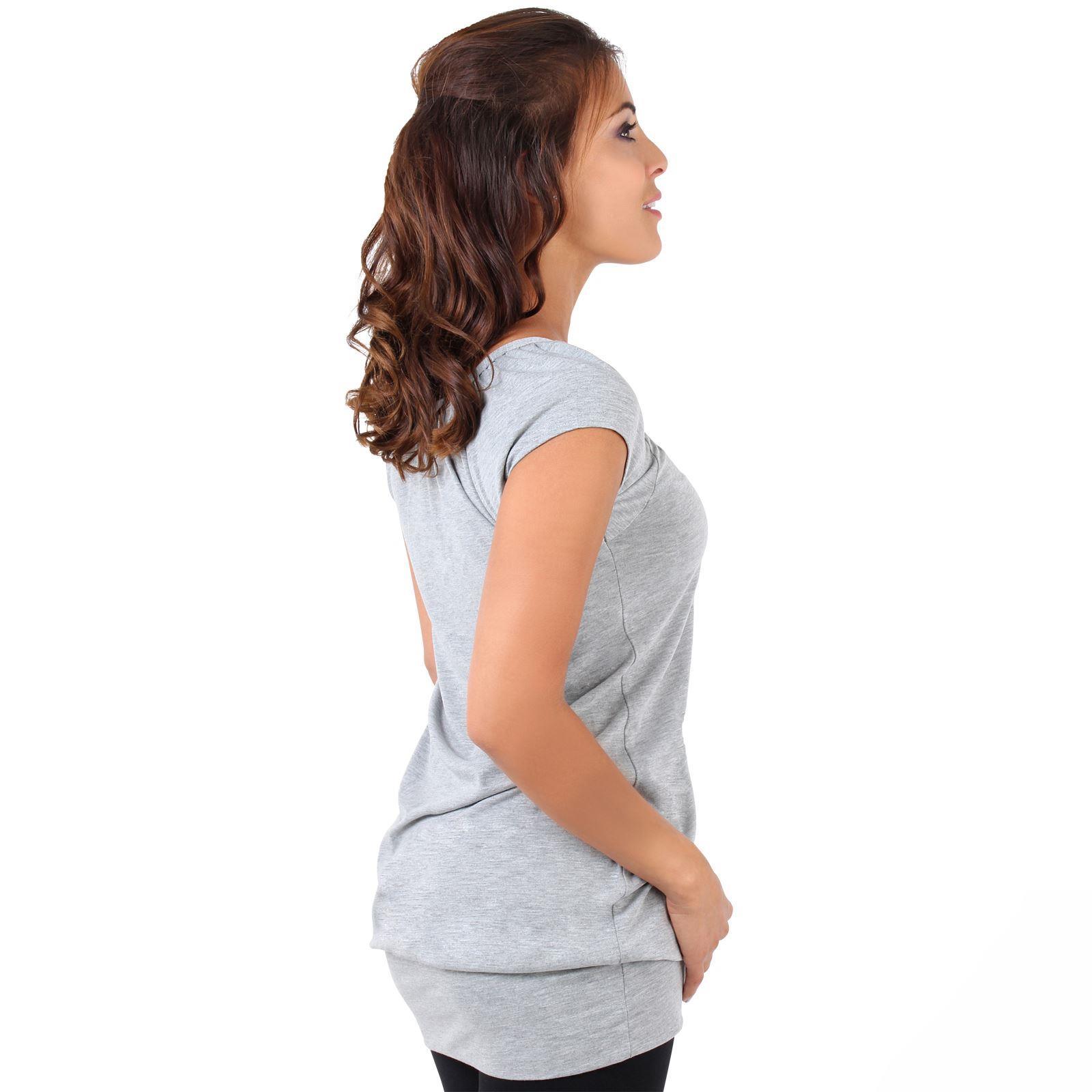 Womens-Ladies-Plain-T-Shirt-Short-Sleeve-Long-Loose-V-Neck-Blouse-Tunic-Top thumbnail 22