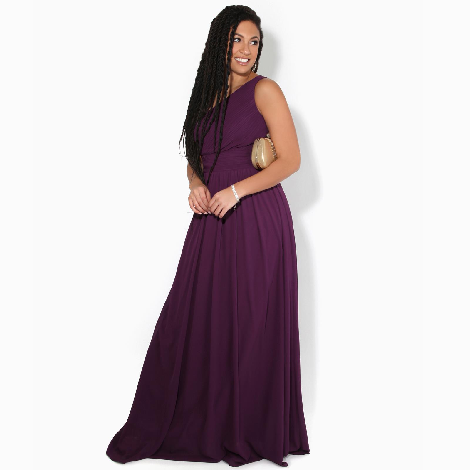 Womens-Wedding-Bridesmaid-Prom-Dress-Formal-One-Off-Shoulder-Long-Evening-8-18 thumbnail 9