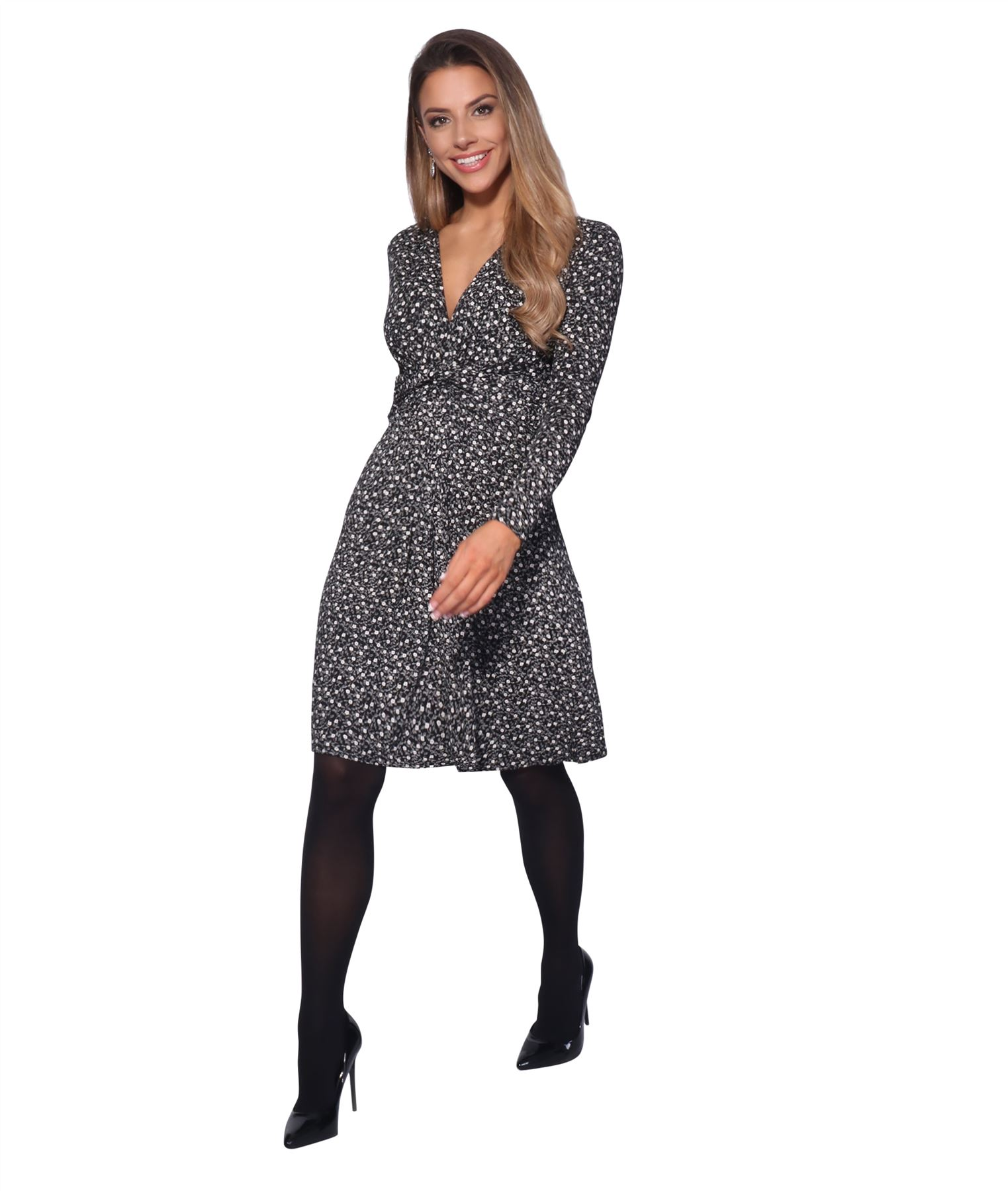 Womens-Ladies-Pattern-Dress-Drape-Print-Stretch-Long-Sleeve-Ruched-Knot-Party thumbnail 9
