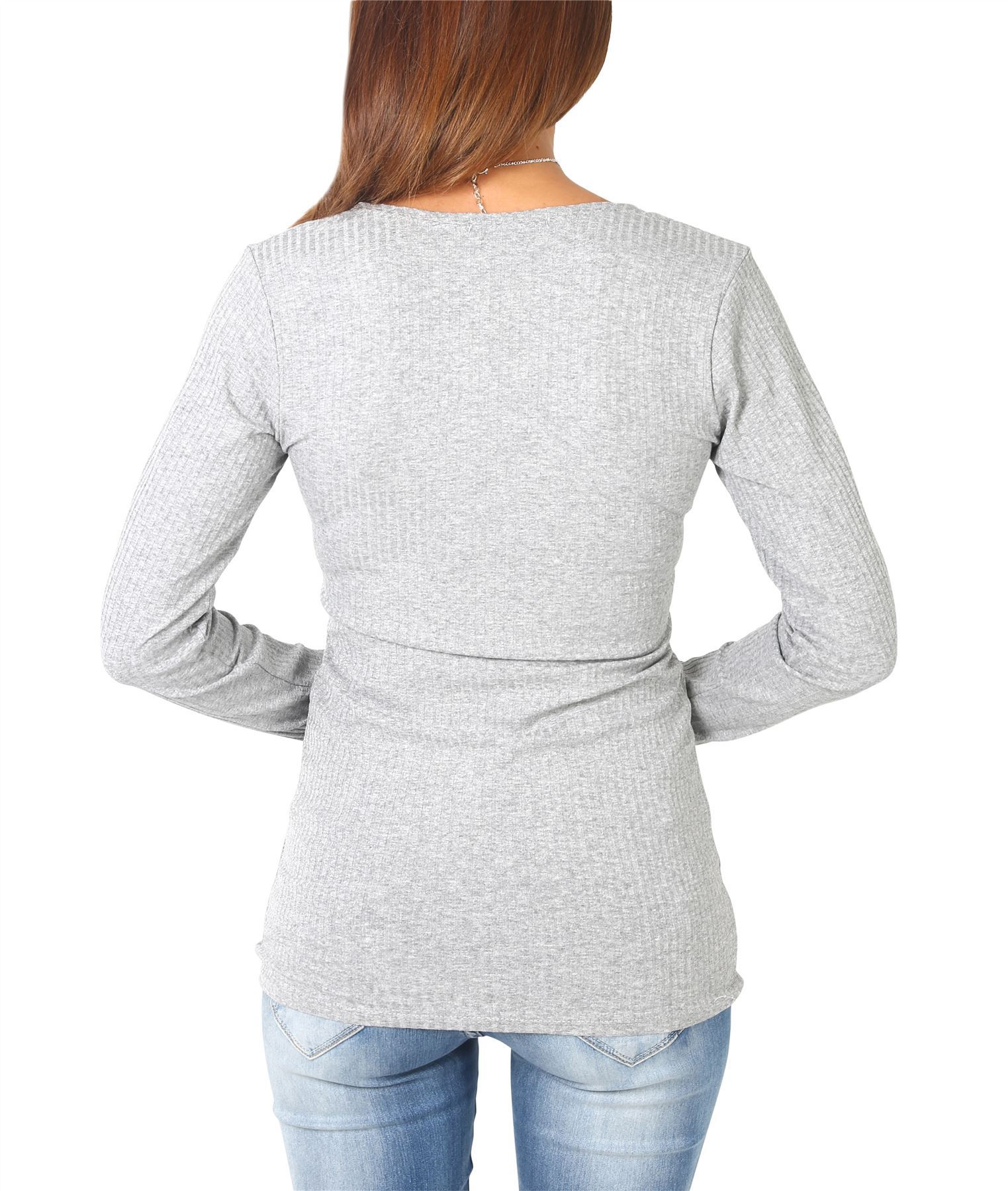 Rebeca-Mujer-Corta-Botones-Basica-Acanalada-Barata-Oferta-Casual-Ligera-Fina miniatura 15
