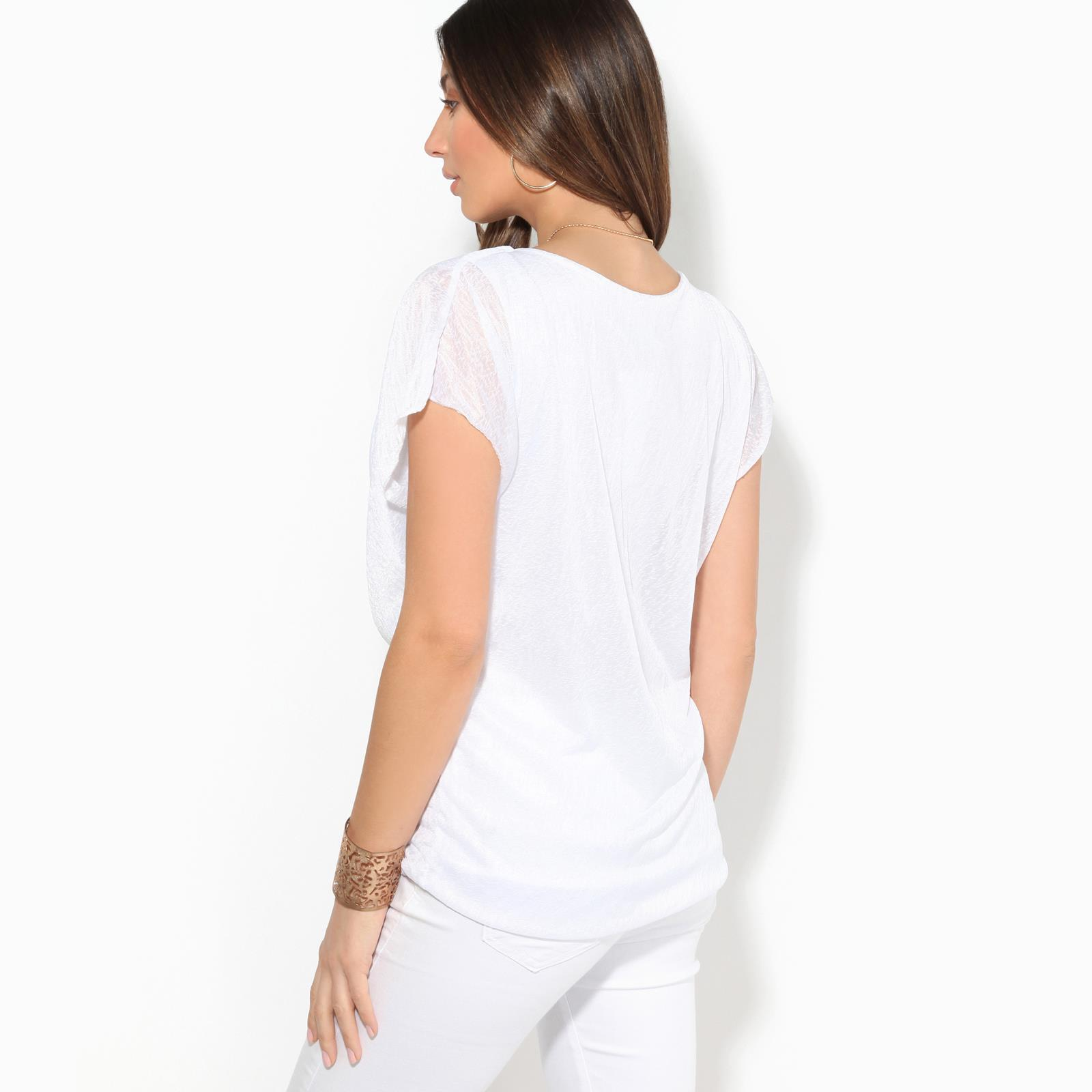Womens-Ladies-Loose-Drape-T-Shirt-Pleated-Cowl-Neck-Top-Mesh-Tunic-Blouse-2-in-1 thumbnail 9