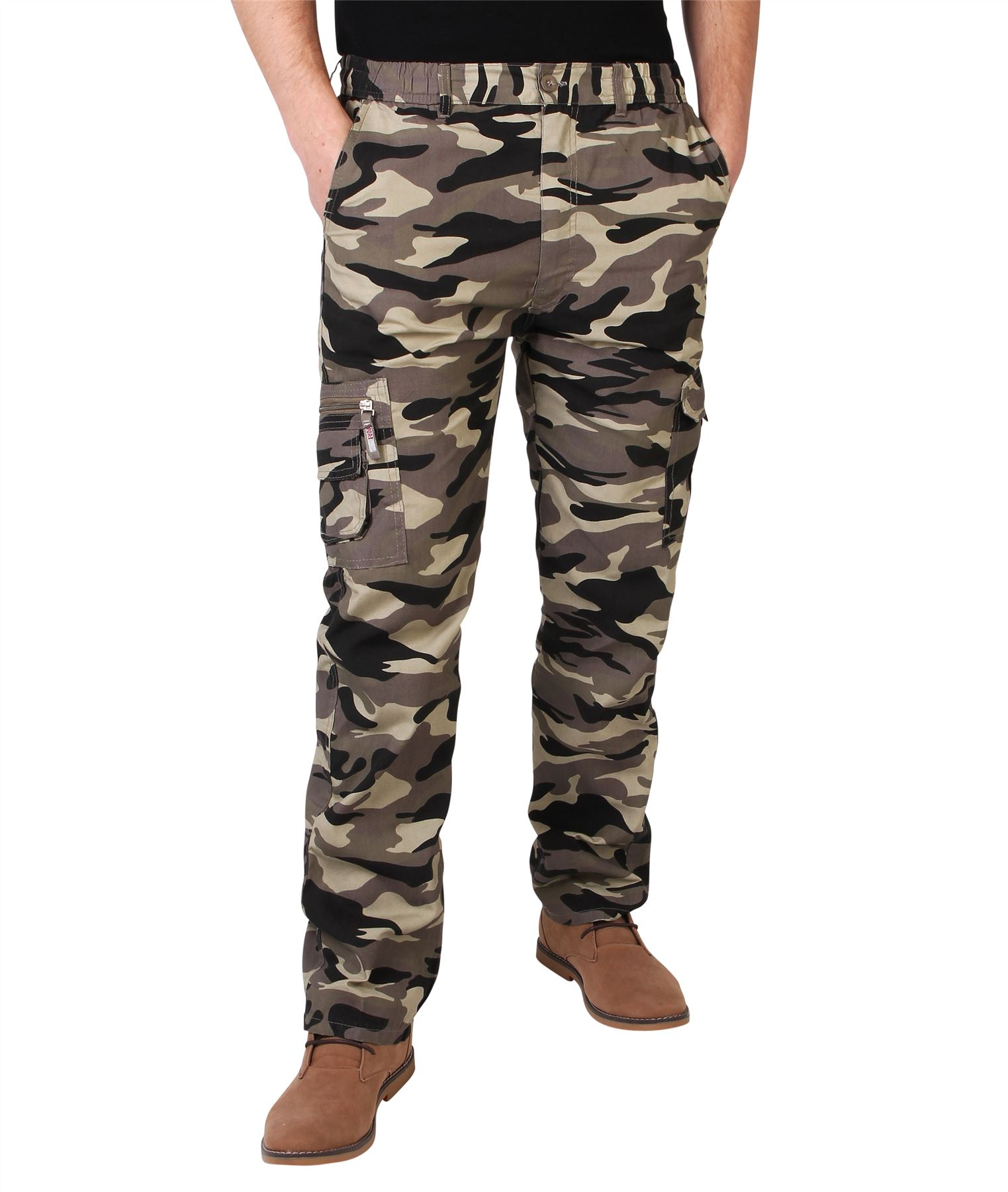 aef90ca478ae8 Homme Pantalon Imprimé Camouflage Cargo Multi Poches Style Militaire ...