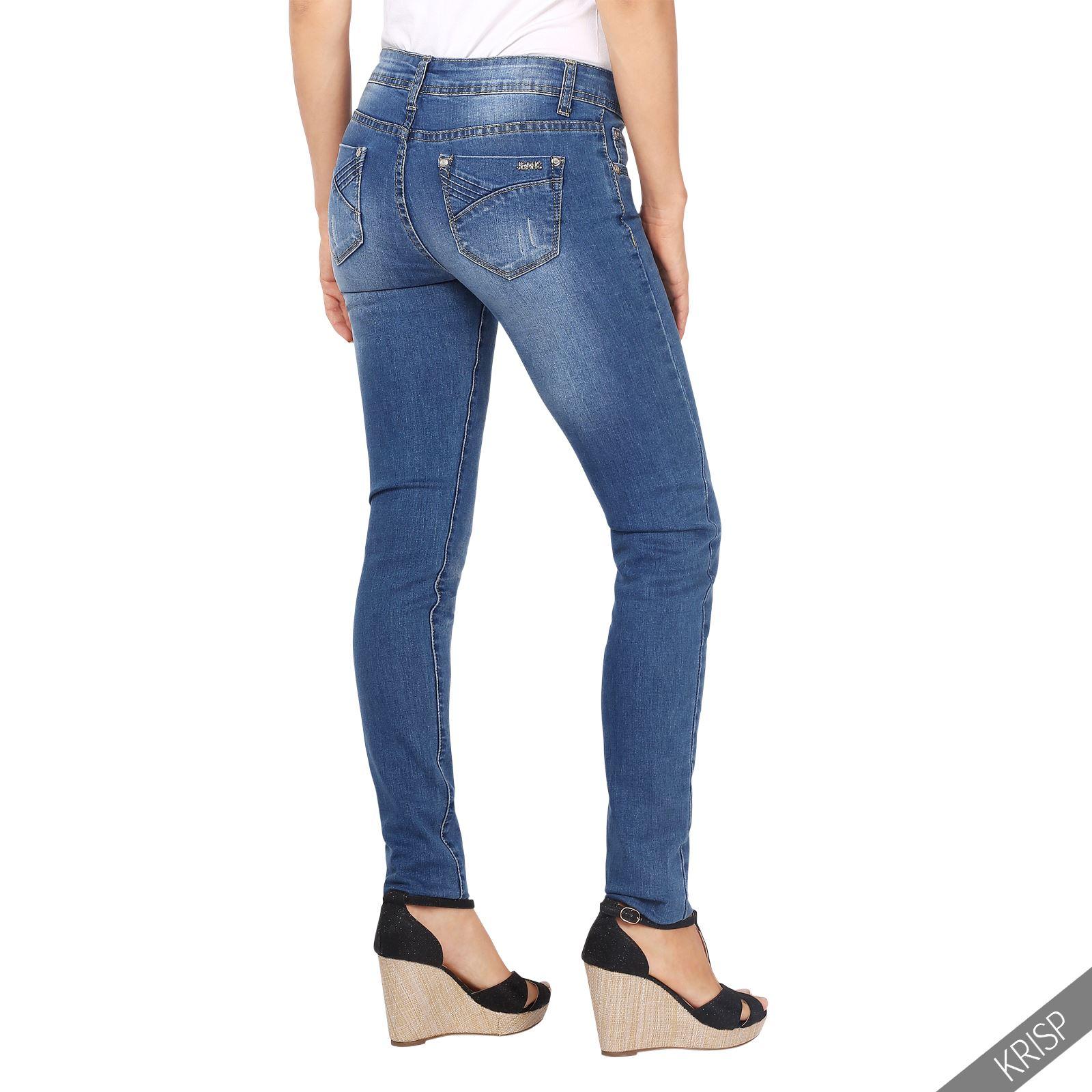 damen frauen helle slim fit jeans mit waschung. Black Bedroom Furniture Sets. Home Design Ideas