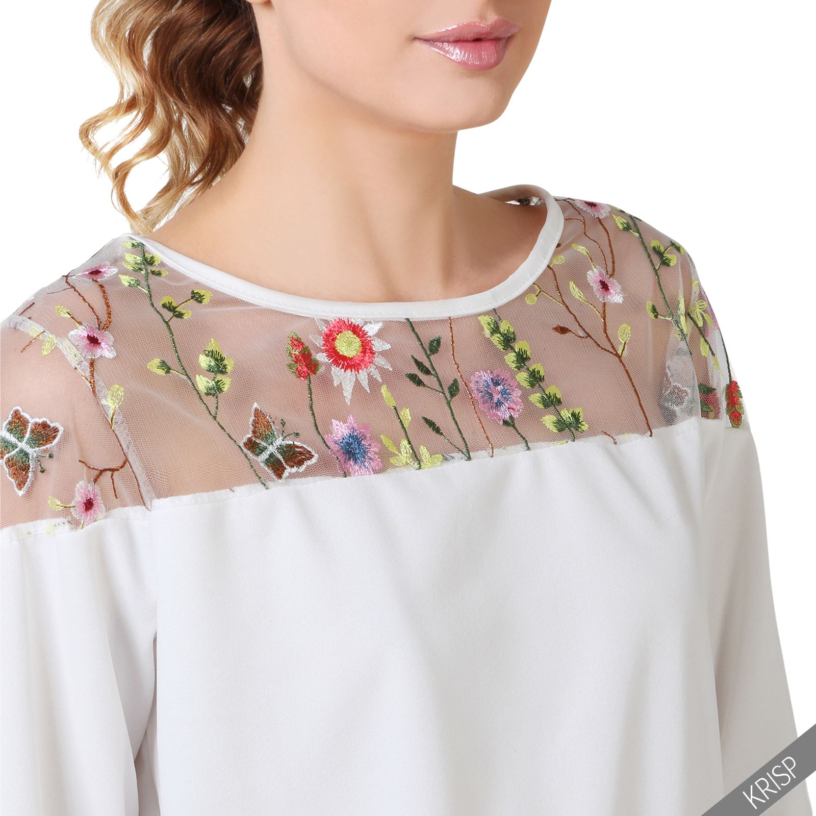 womens ladies floral embroidered mesh top casual long