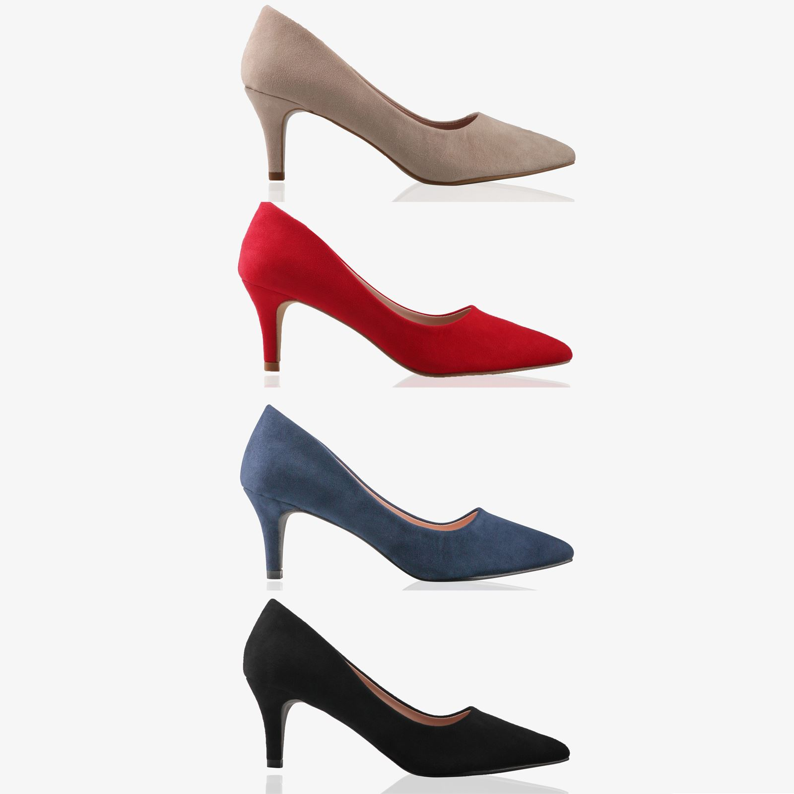 Womens Ladies Suede Court Shoes Mid