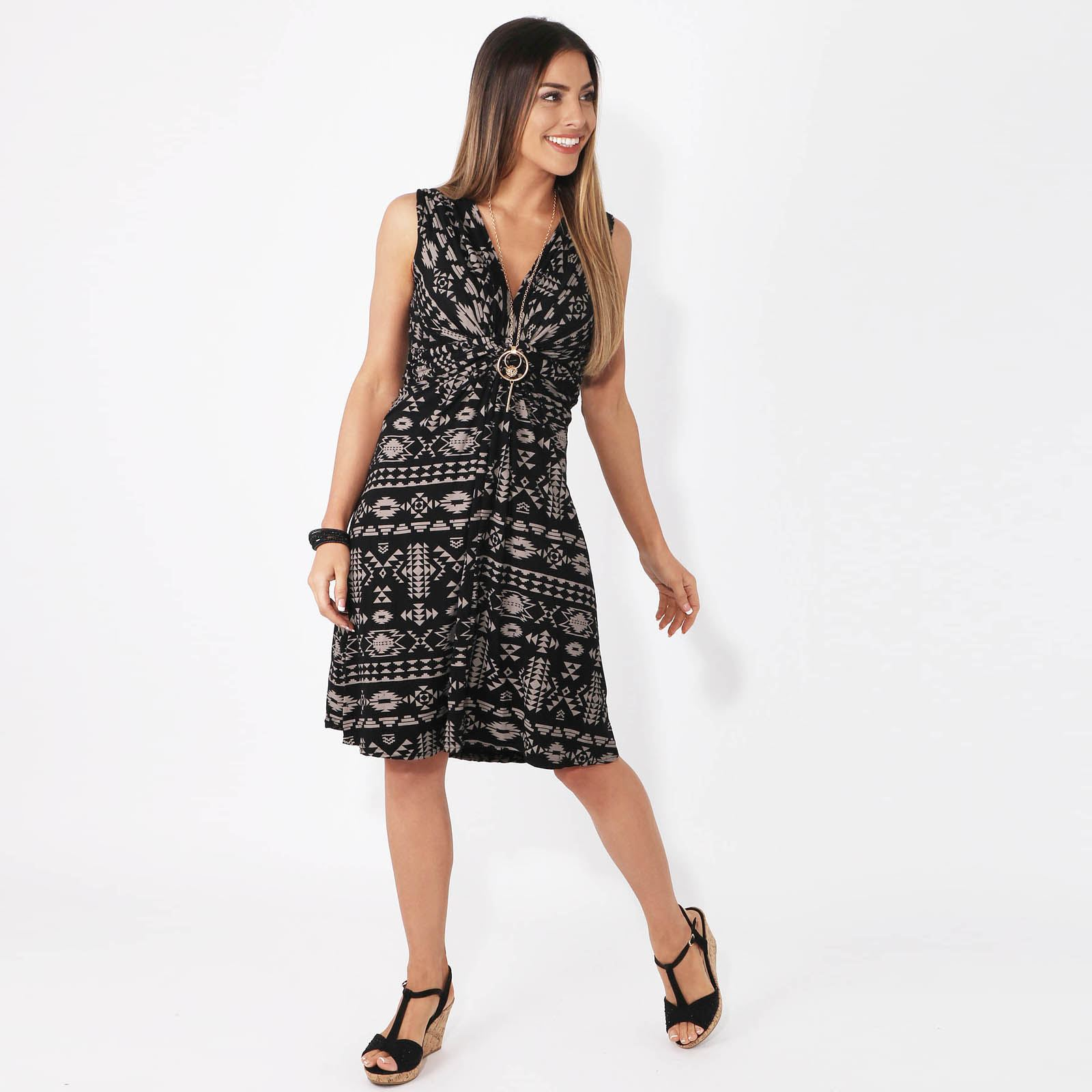Womens-V-Neck-Mini-Dress-Small-Sizes-Short-Skirt-Tribal-Print-Front-Knot-Party thumbnail 9