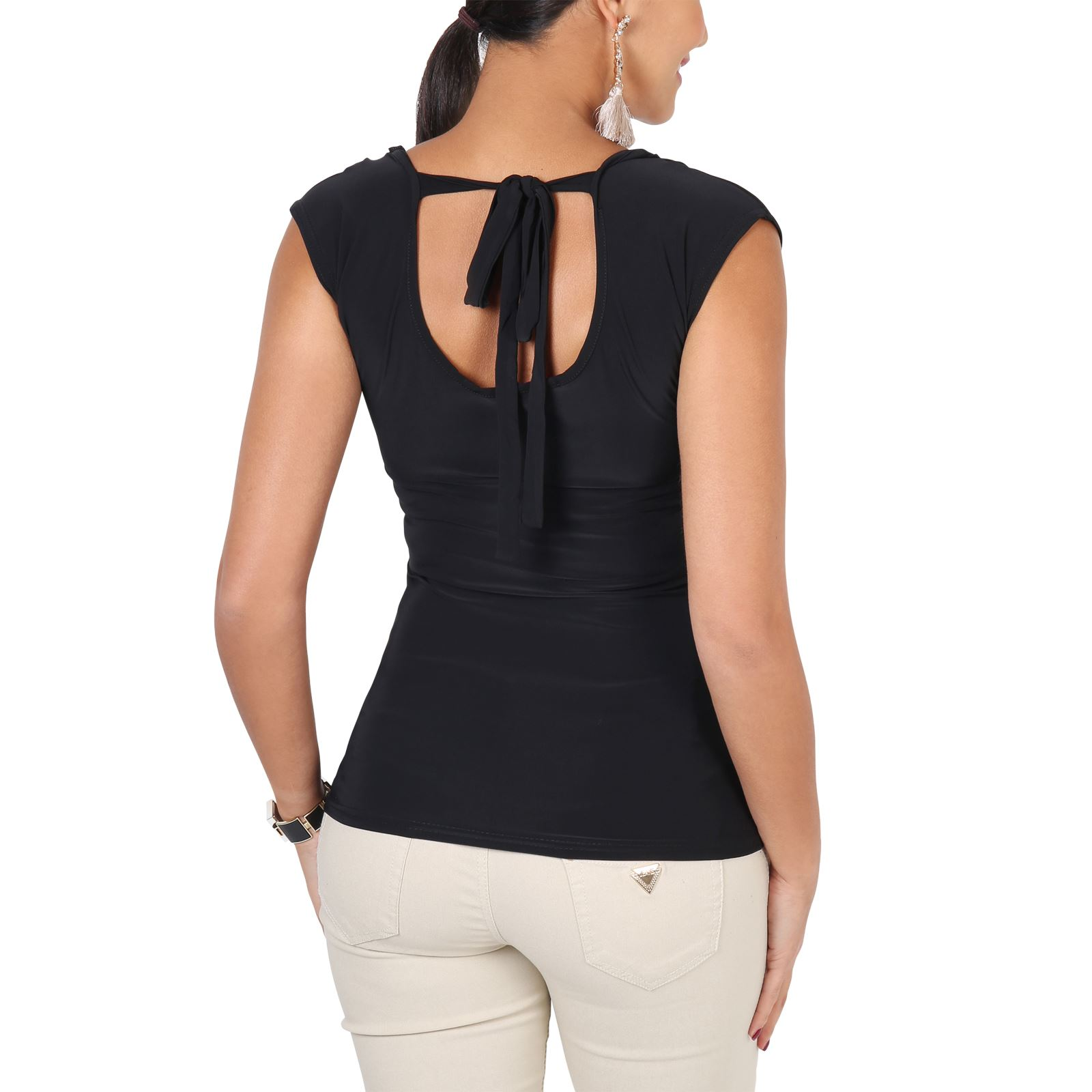 Womens-Ladies-Cowl-Neck-Blouse-Sleeveless-Stretch-Summer-Jersey-Top-Size-8-20 thumbnail 3