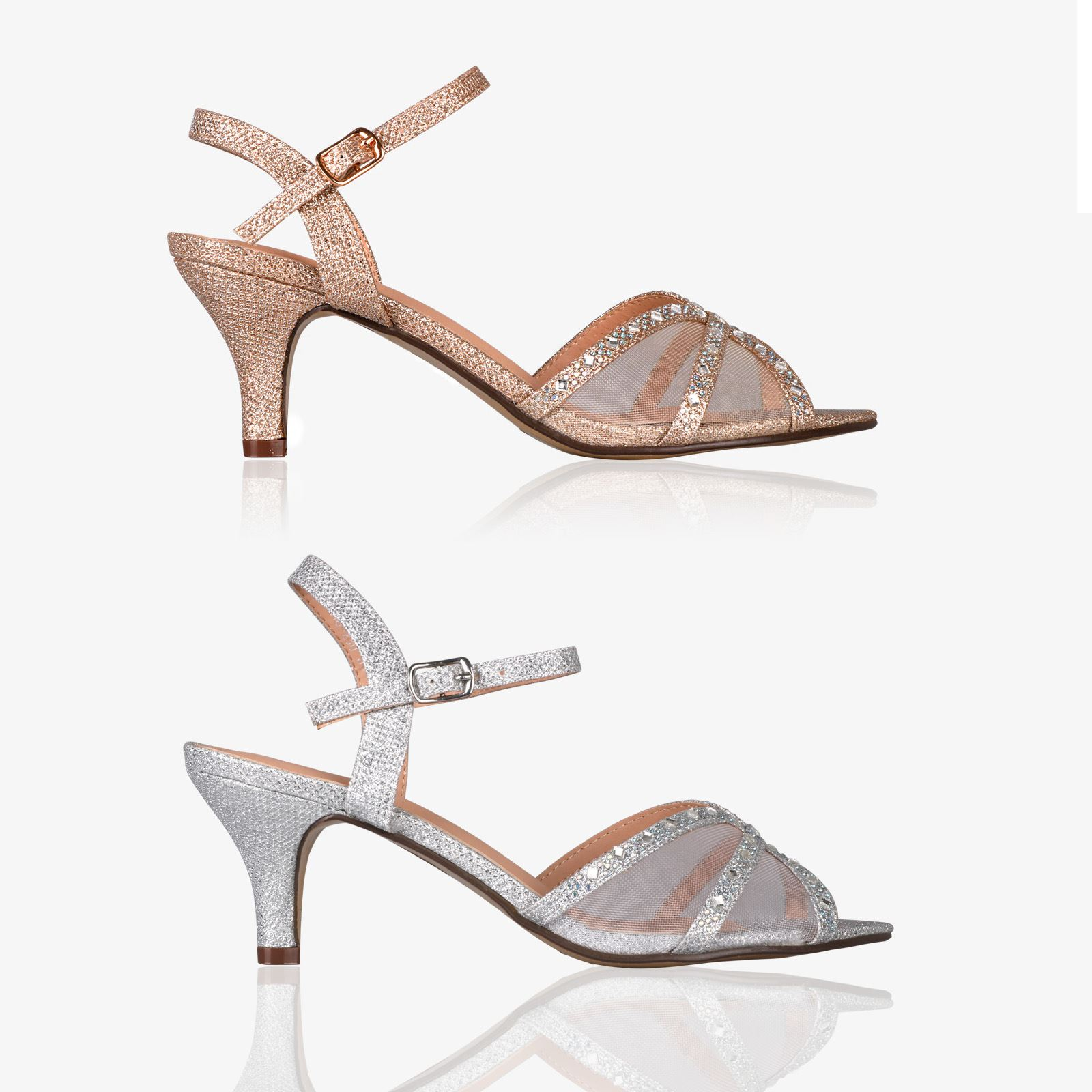 adc34035e83 Details about Womens Ladies Glitter Kitten Mid Heel Sandals Open Toe  Strappy Court Shoes Party