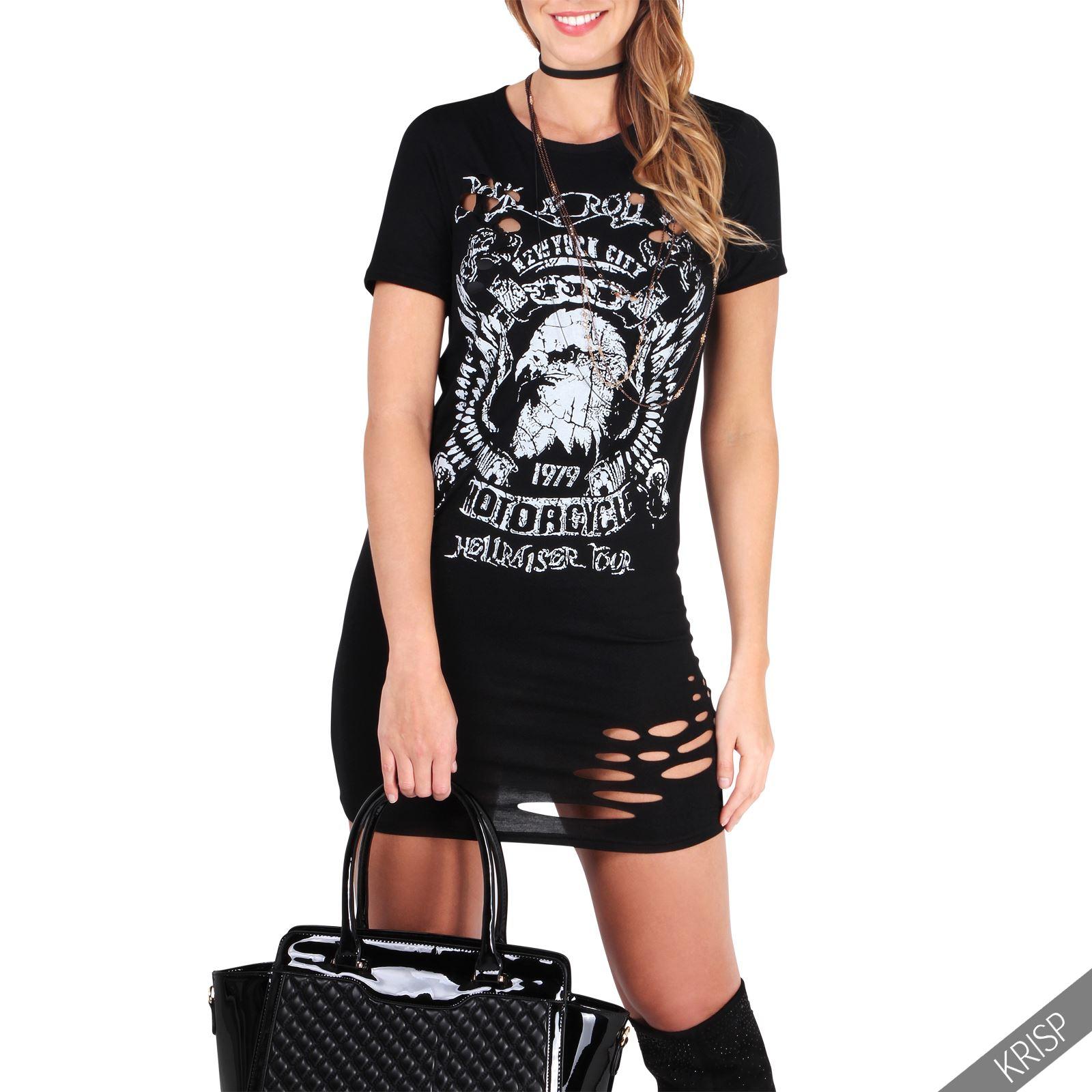 damen gerissenes kurzarm longshirt sommer oberteil party shirt cut out kleid ebay. Black Bedroom Furniture Sets. Home Design Ideas