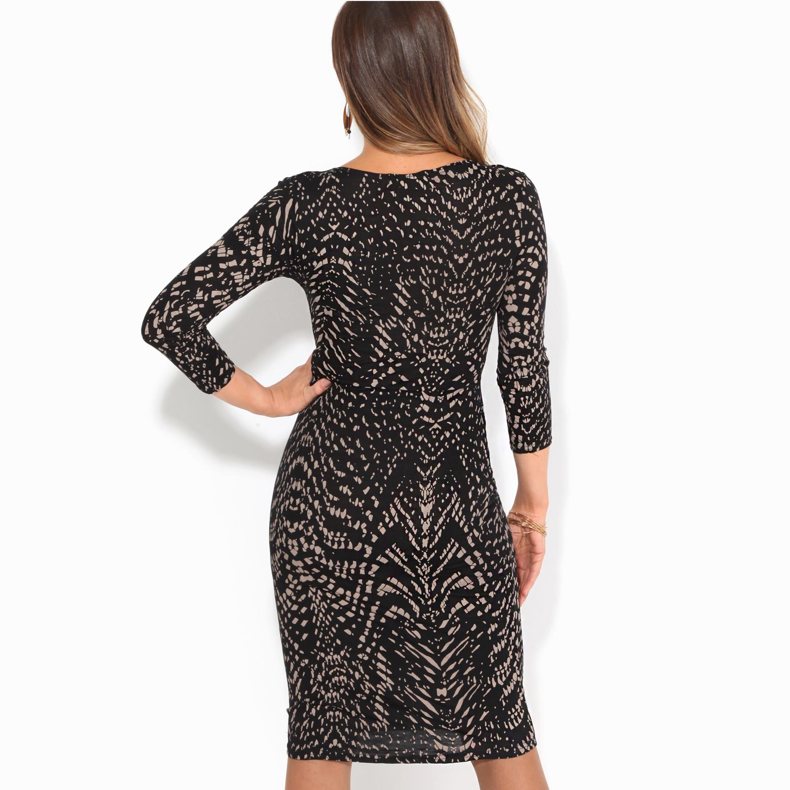 Womens-V-Neck-Dress-Top-Bodycon-Skirt-Midi-Snakeskin-Print-Cross-Over-Party-Wrap thumbnail 13