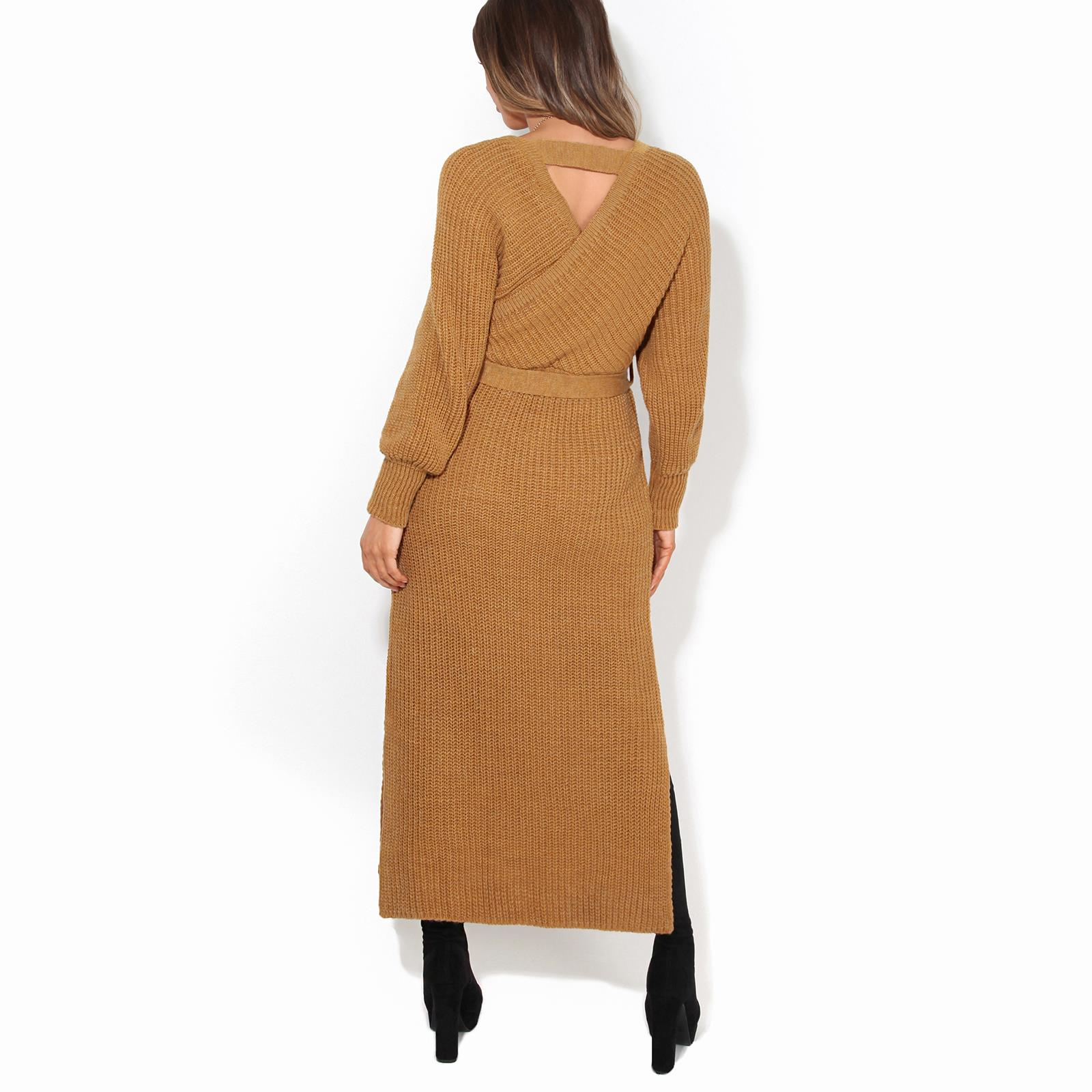 Womens-Ladies-Jumper-Dress-Chunky-Knit-Wrap-V-Neck-Maxi-Long-Sleeve-Winter-Top thumbnail 10