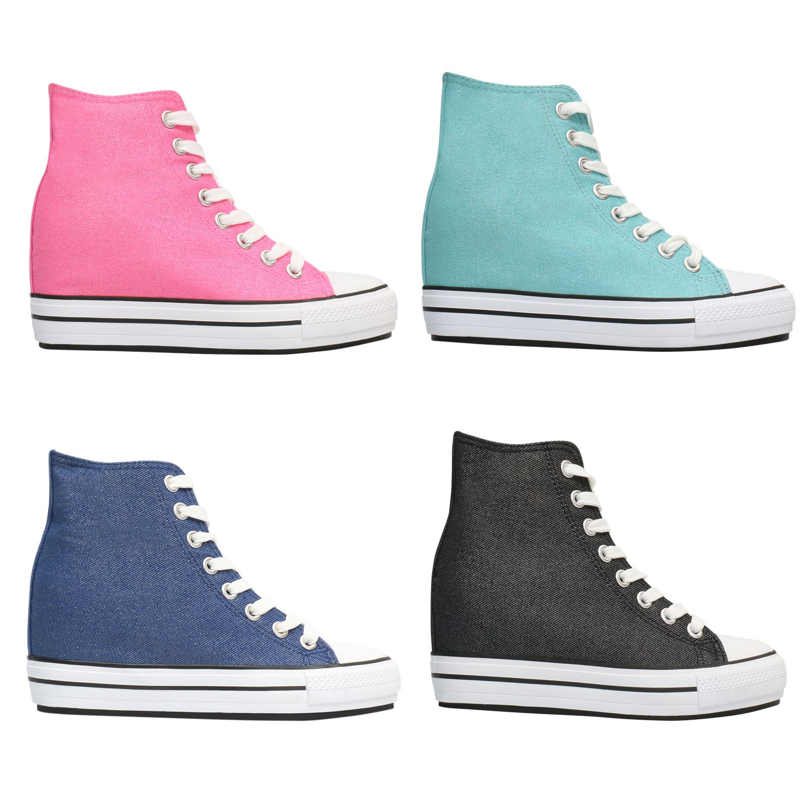 f58744914b5e Details about Women Classic High Tops Glitter Wedge Platform Trainers  Sneaker Ladies Shoes