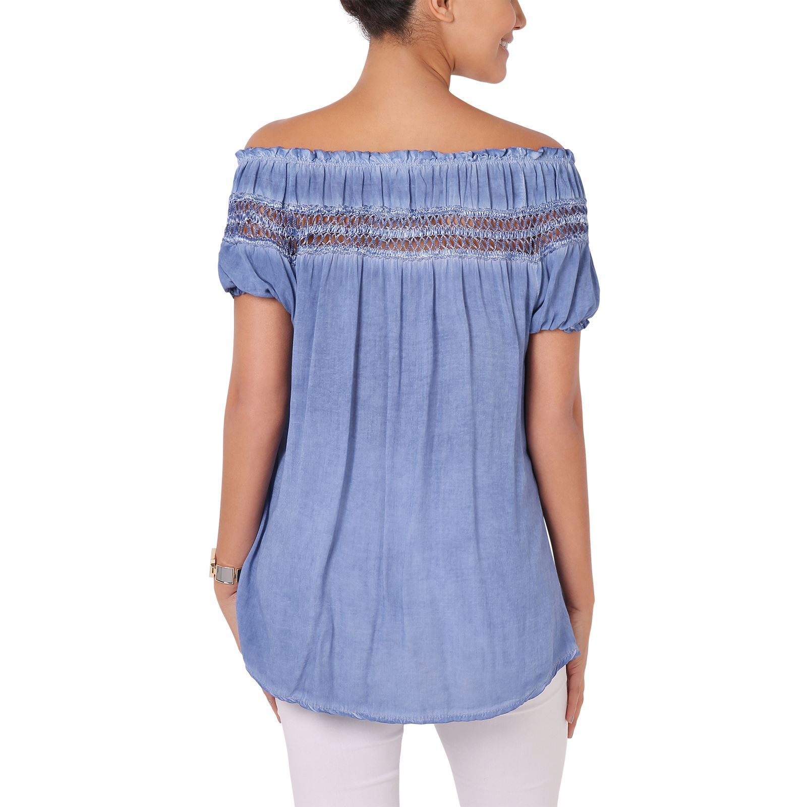 Womens-Off-Shoulder-Blouse-Gypsy-Boho-Cotton-T-Shirt-Top-Tunic-Summer-Loose-Fit thumbnail 7