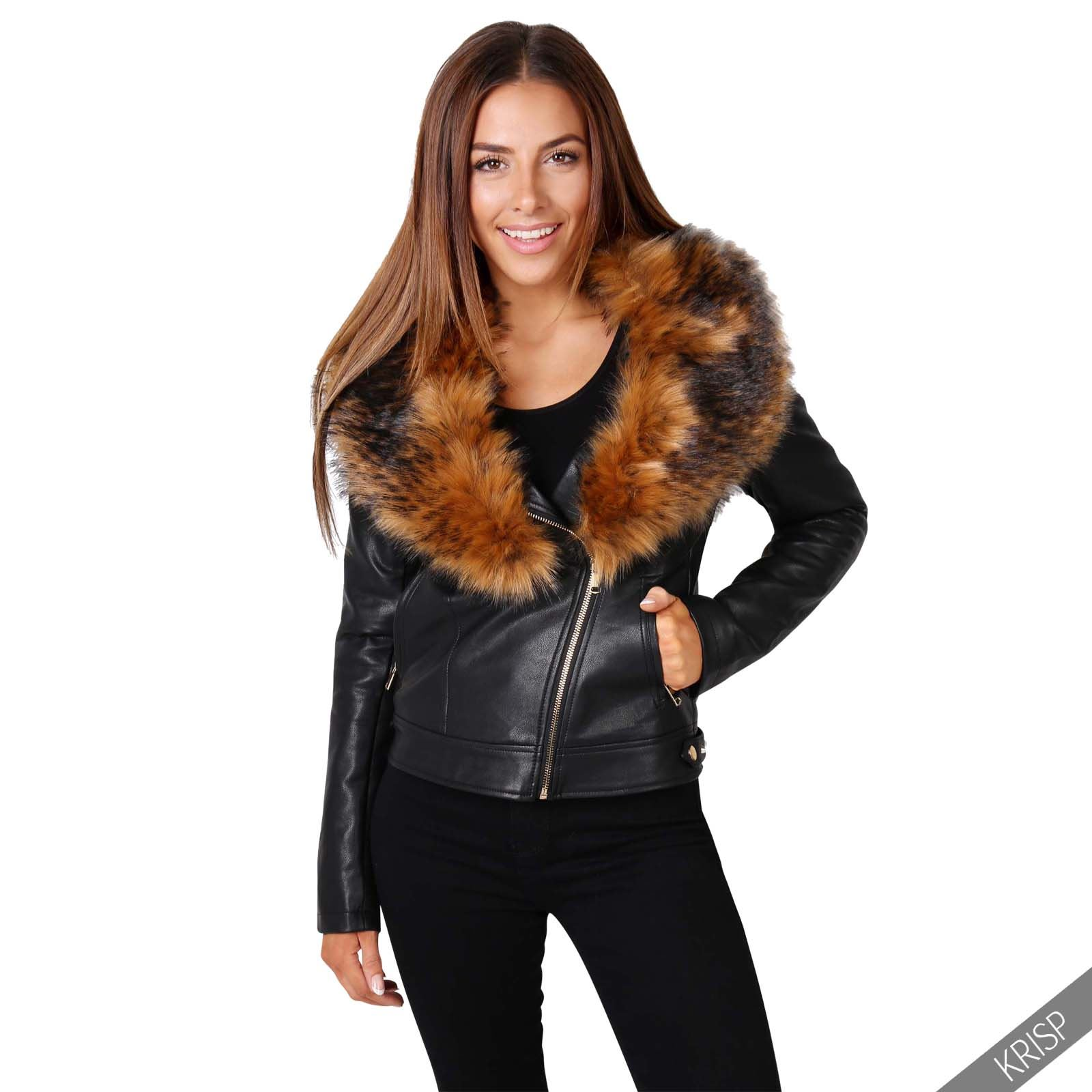 femmes veste jacket cuir manteau gilet biker motard fausse fourrure bomber mode ebay. Black Bedroom Furniture Sets. Home Design Ideas