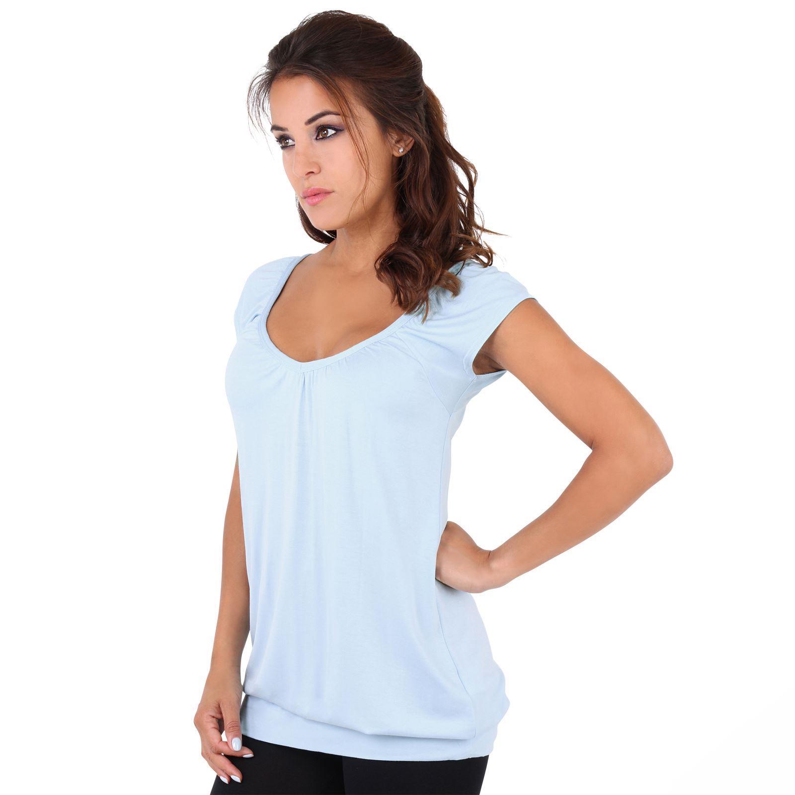 Womens-Ladies-Scoop-Neck-Blouse-V-T-Shirt-Long-Short-Sleeve-Plain-Loose-Top thumbnail 4