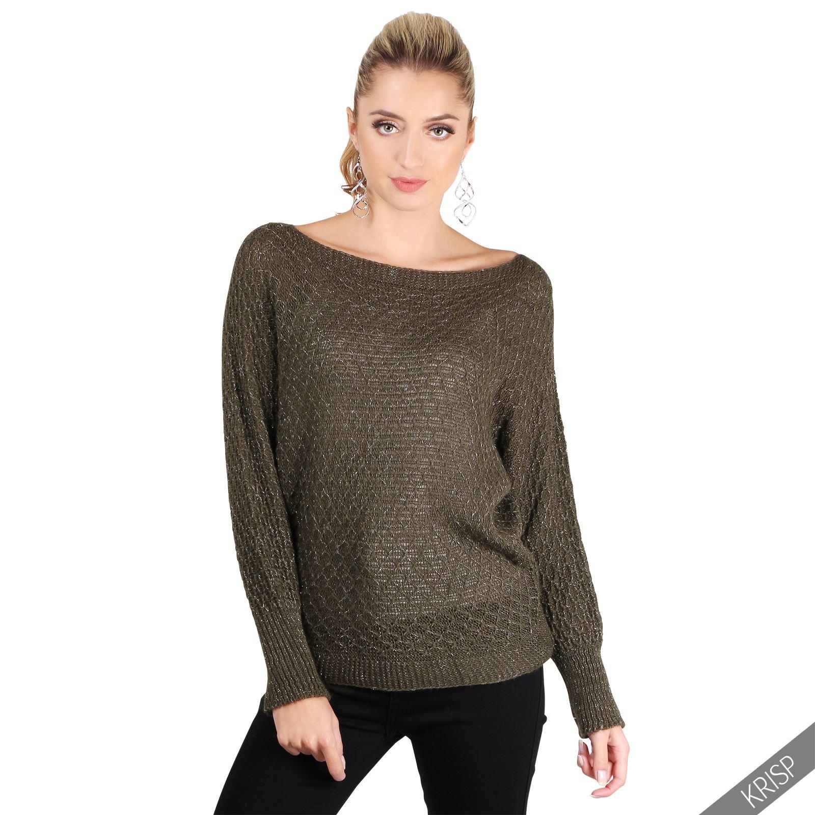 KRISP Jersey Mujer Largo Suéter Punto Lana Manga Larga