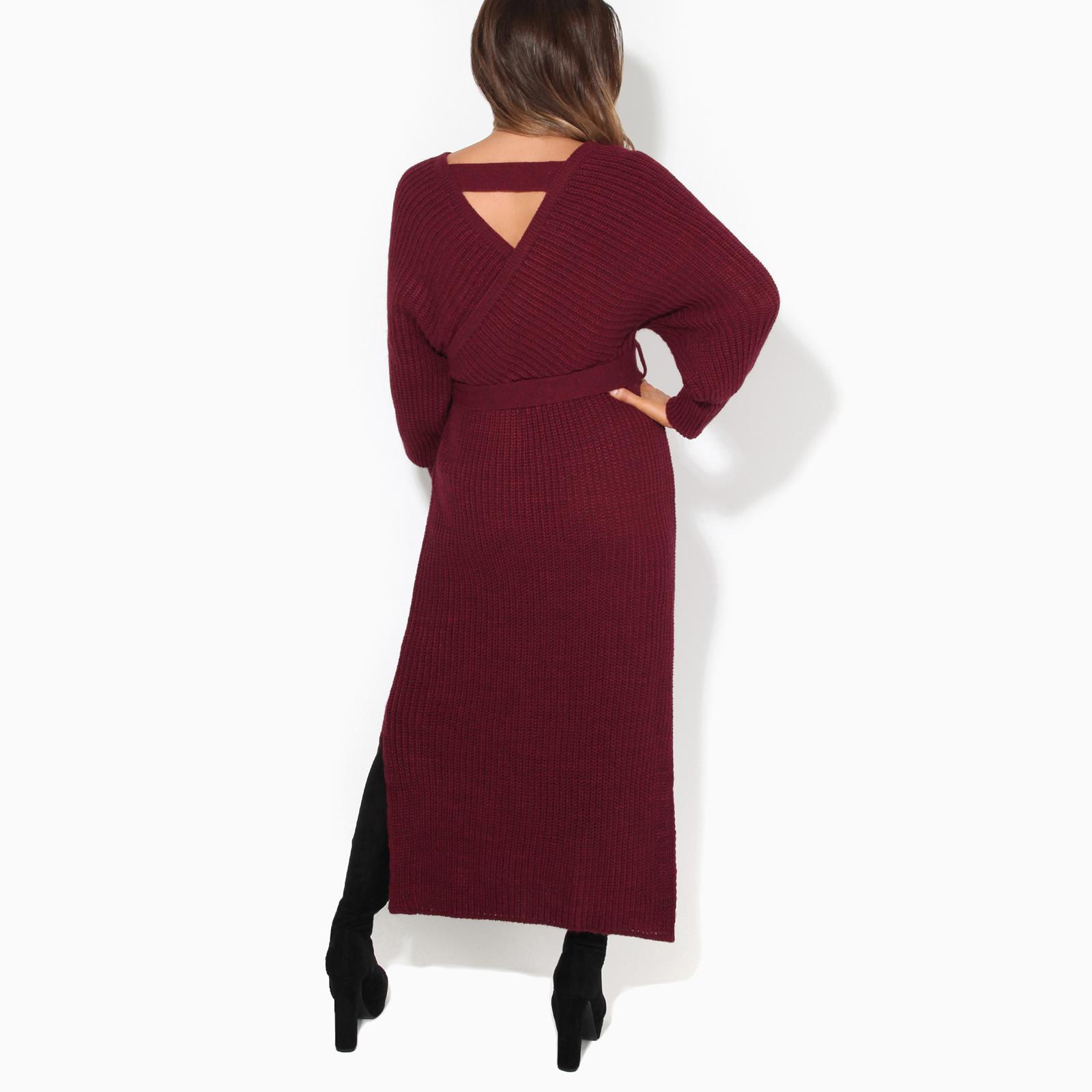 Womens-Ladies-Jumper-Dress-Chunky-Knit-Wrap-V-Neck-Maxi-Long-Sleeve-Winter-Top thumbnail 13