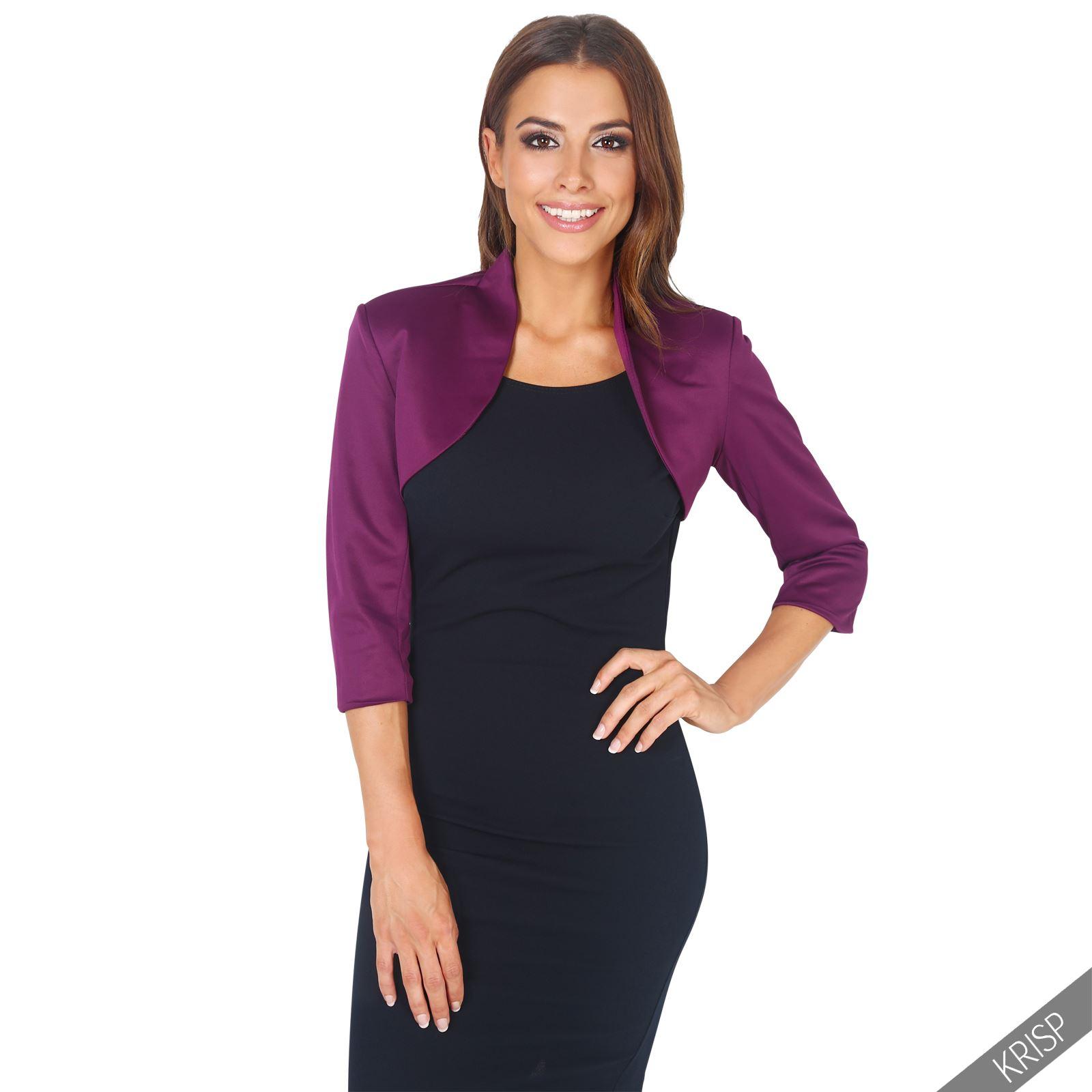 Womens-Tailored-Bolero-Shrug-Cropped-Top-Short-Sleeve-Party-Blazer-Jacket-Coat thumbnail 16