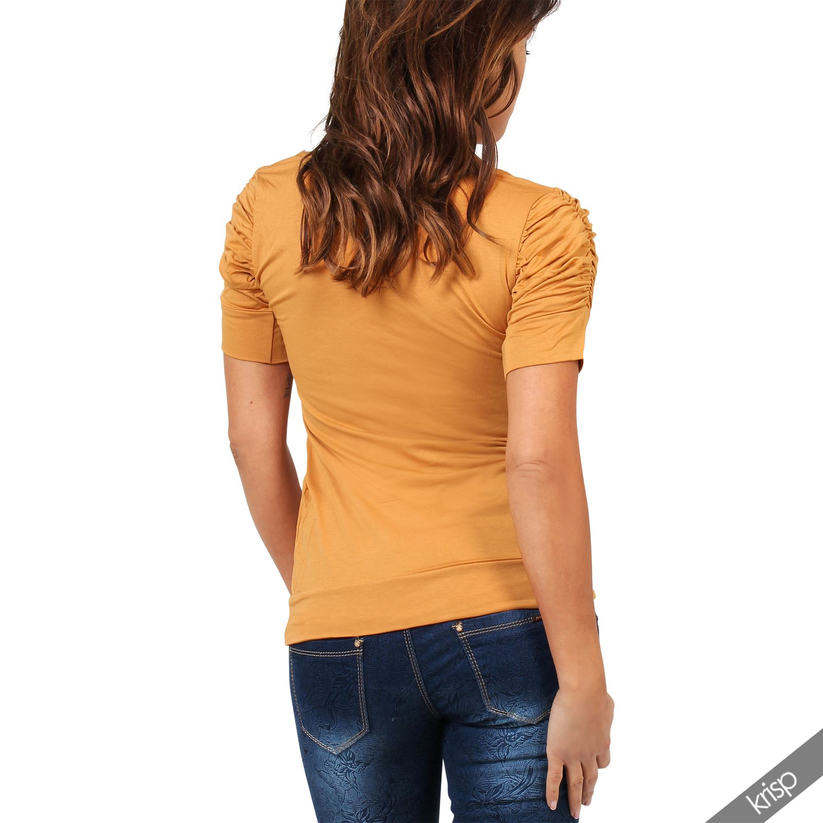 Womens-Ladies-Long-Blouse-Ruched-Pleated-Sleeve-Stretch-Jersey-Plunge-Top-Tshirt thumbnail 18