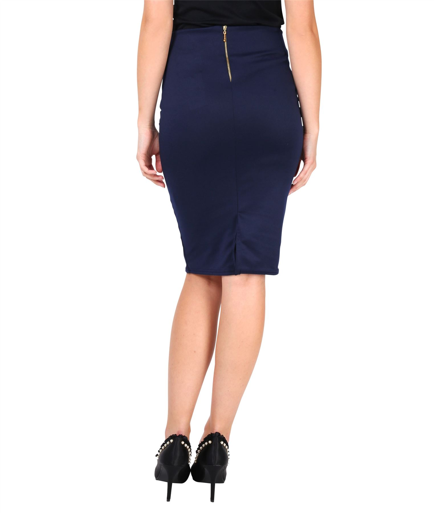 Womens-Ladies-Pencil-Skirt-Midi-Knee-Long-High-Waist-Work-Office-Business-Smart thumbnail 10