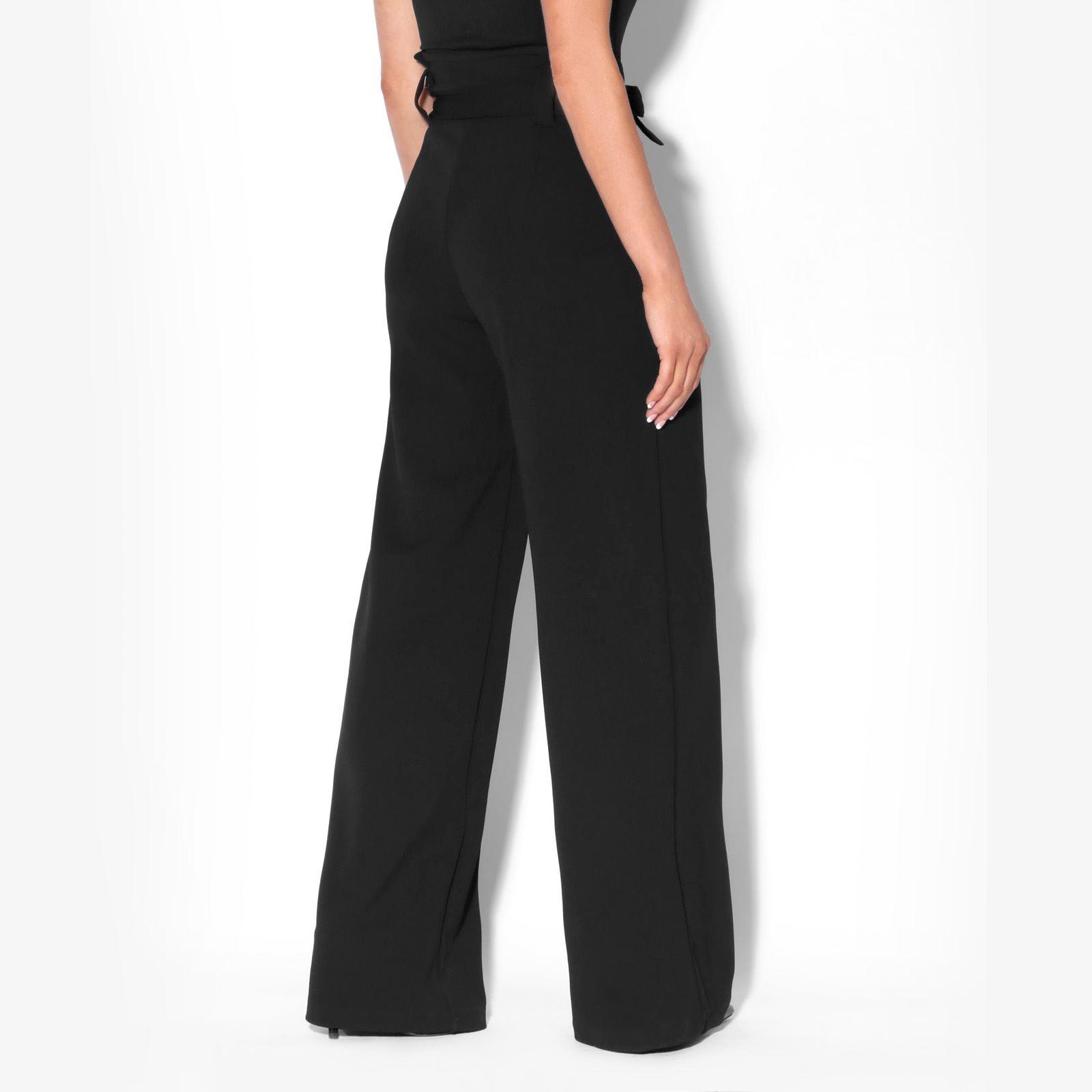 Womens-Ladies-High-Waist-Wide-Leg-Trousers-Paper-Bag-Flared-Leg-Palazzo-Pants thumbnail 3