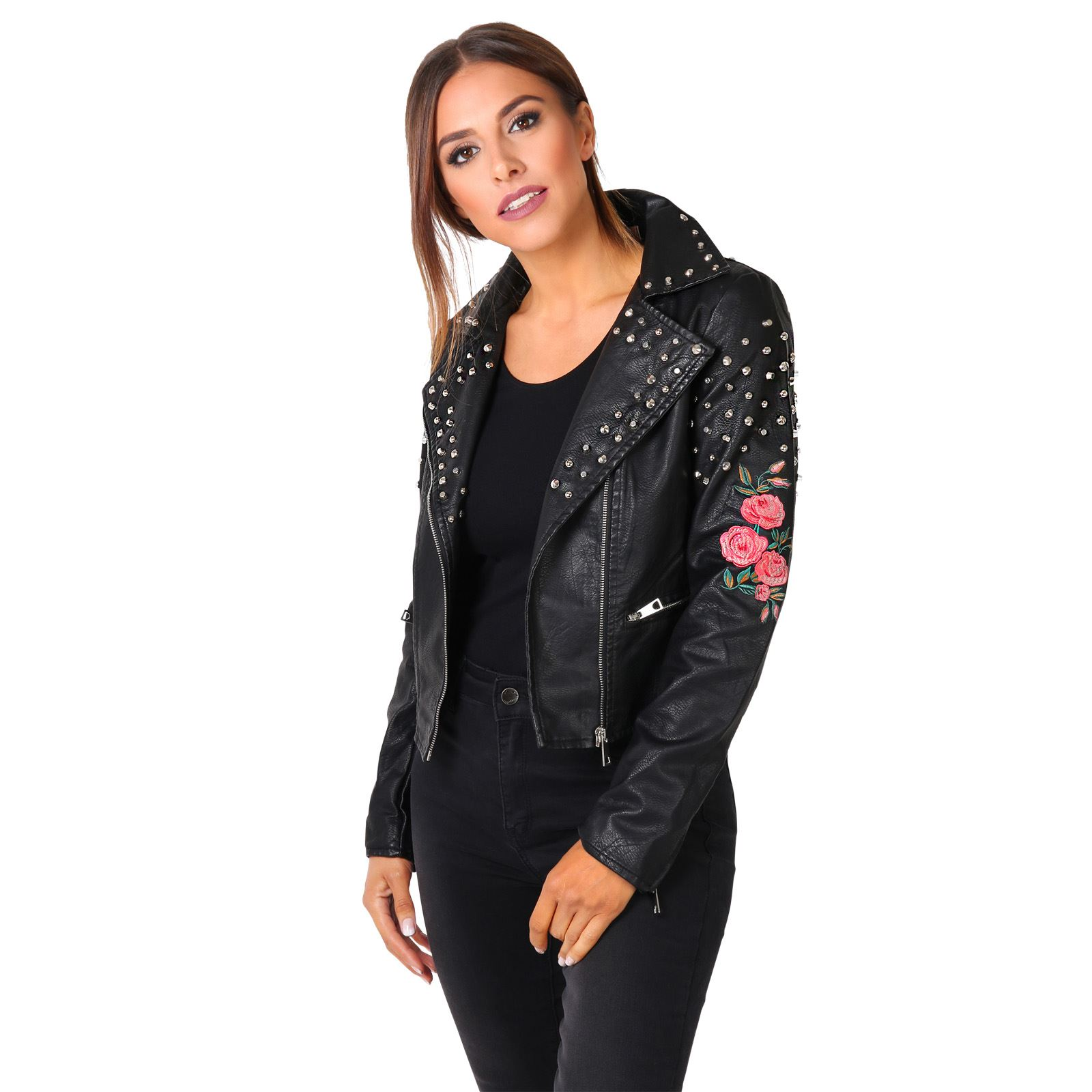 femmes veste cuir perfecto jacket manteau biker motard bomber brod e clous ebay. Black Bedroom Furniture Sets. Home Design Ideas