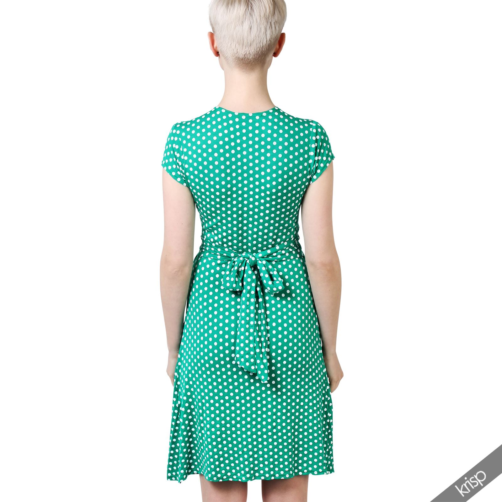 Womens-Polka-Dot-Dress-Pleated-Skirt-Wrap-Front-Mini-V-Neck-Top-Swing thumbnail 13