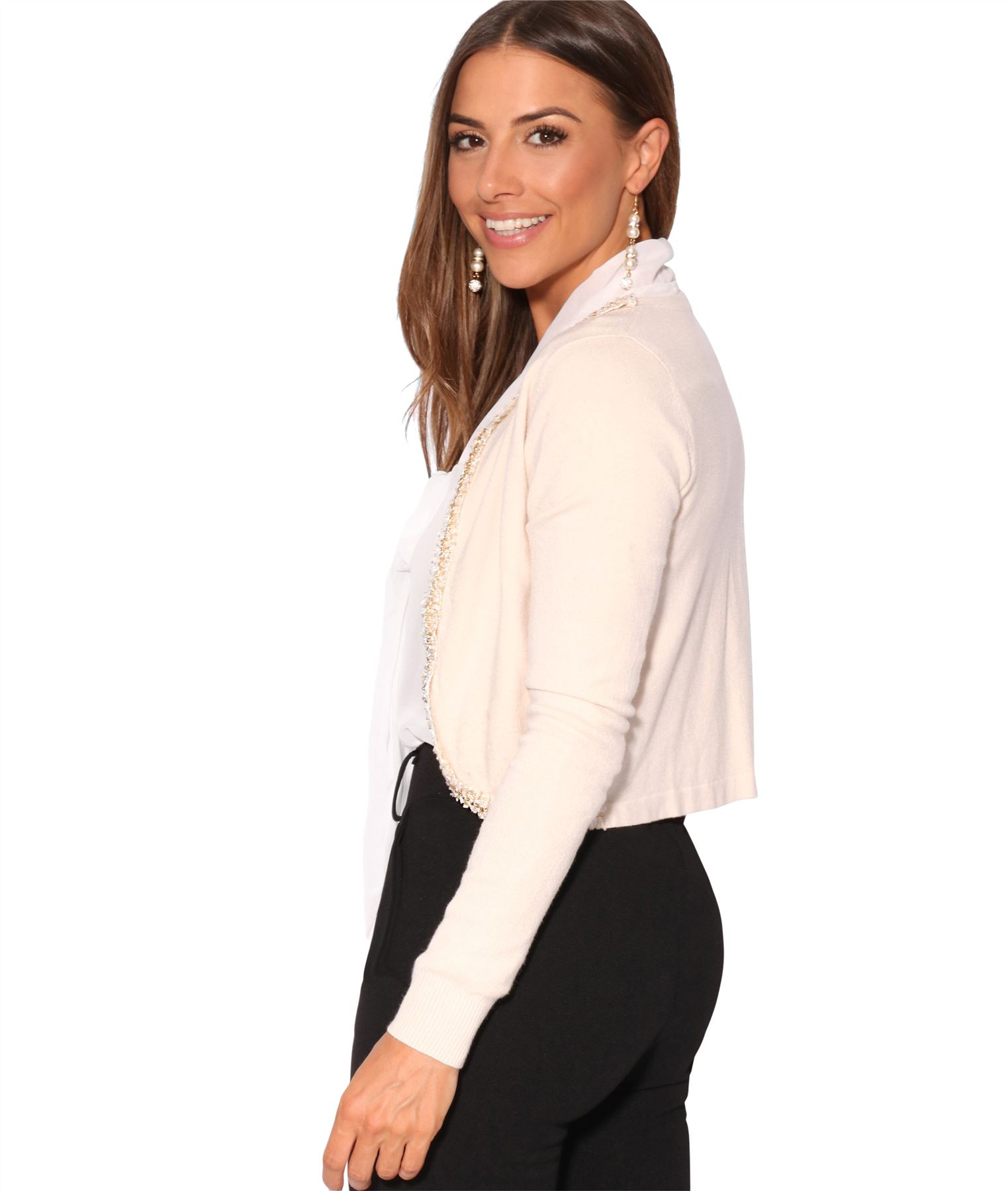 Womens Ladies Bolero Shrug Silky Soft Cardigan Long Sleeve Knit Short Top Work