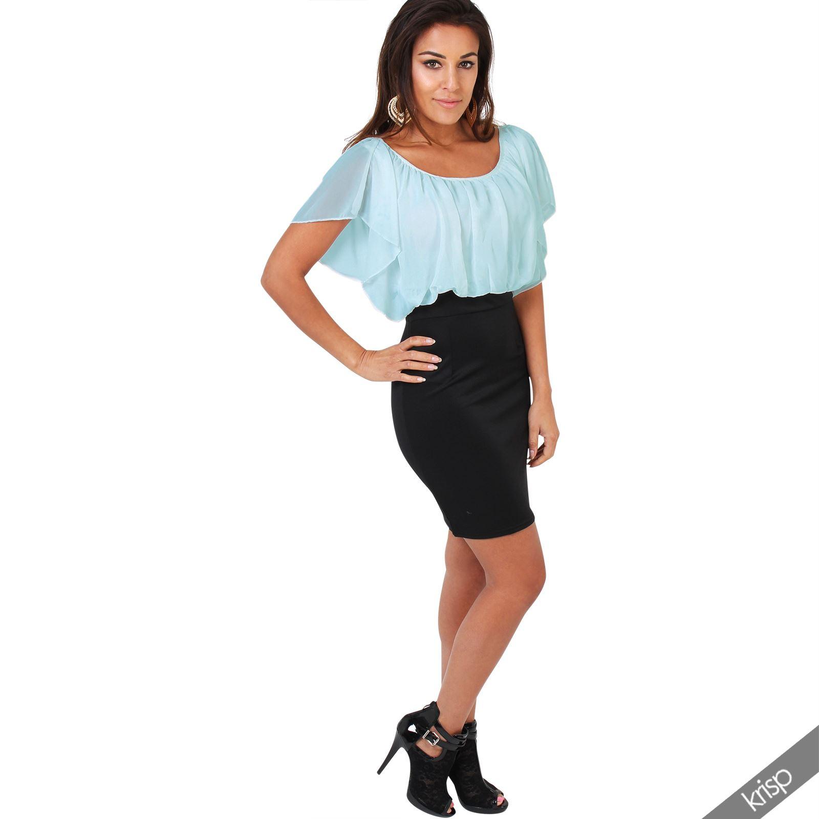 Womens-Pleated-Chiffon-Batwing-Top-High-Waist-Pencil-Bodycon-Skirt-Mini-Dress thumbnail 3
