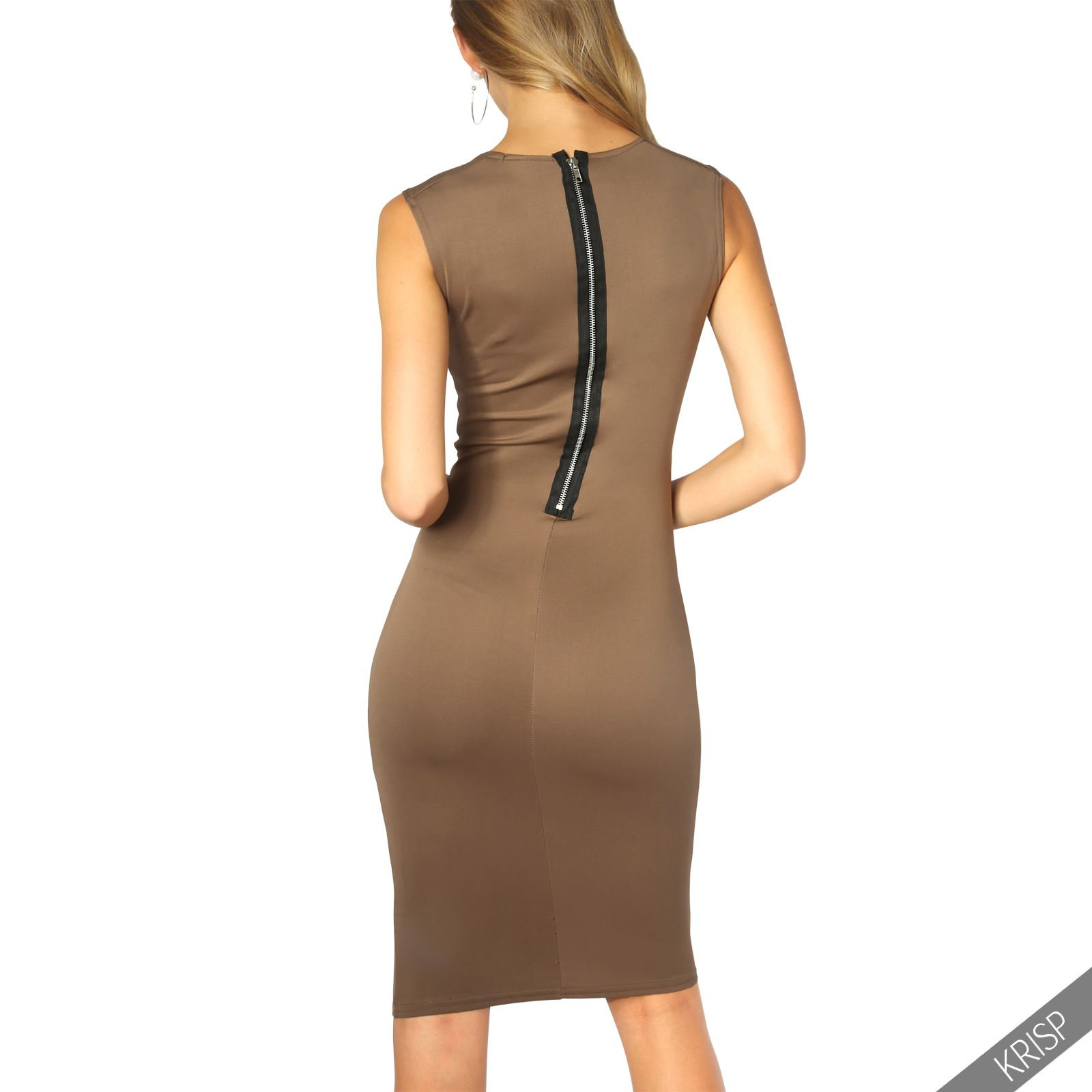 Womens-Pencil-Midi-Bodycon-Dress-Square-Neck-Panelled-Sexy-Zip-Party-Evening thumbnail 15
