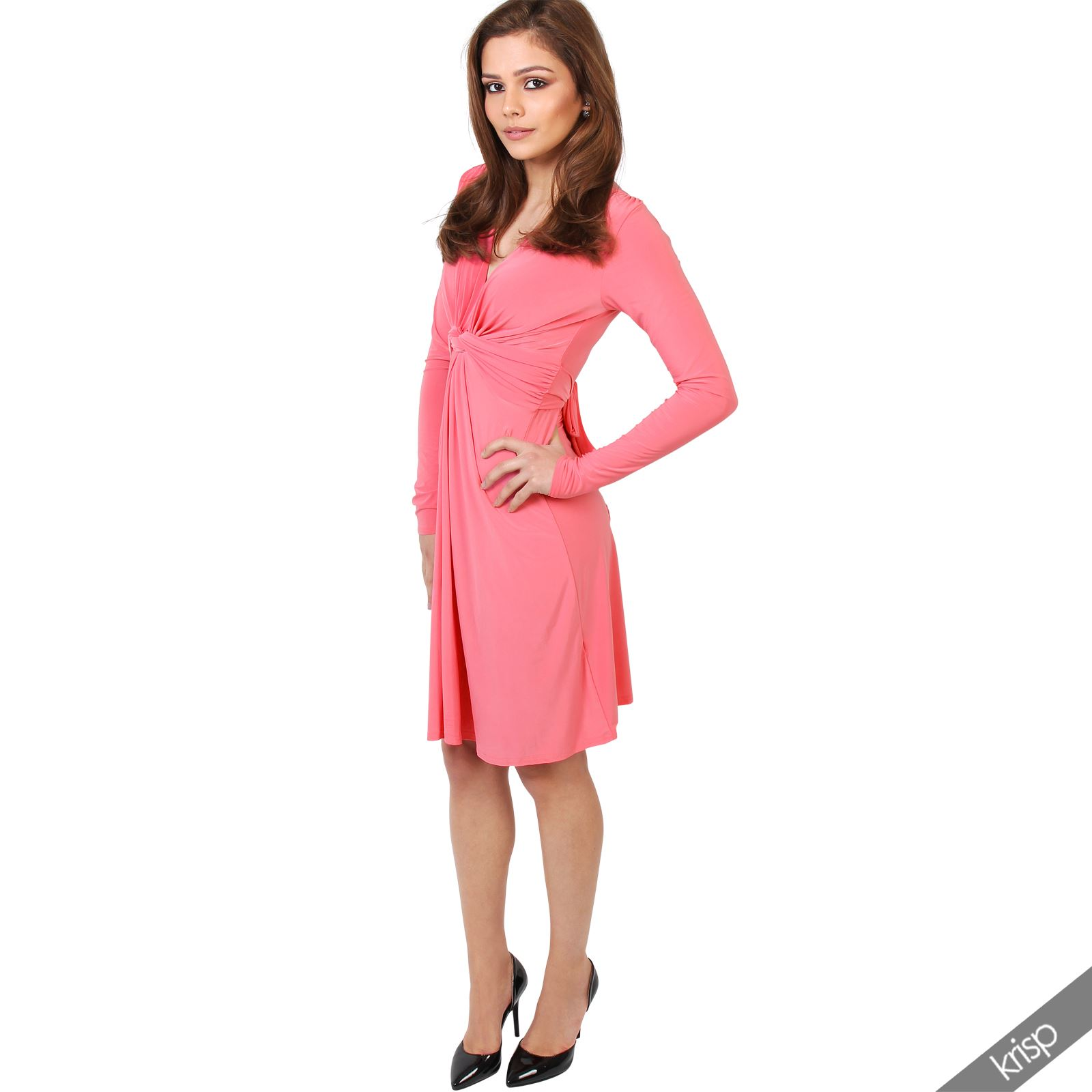 Womens-Ladies-V-Neck-Dress-Knee-Length-Mini-Ruched-Pleated-Swing-Top-Party thumbnail 34