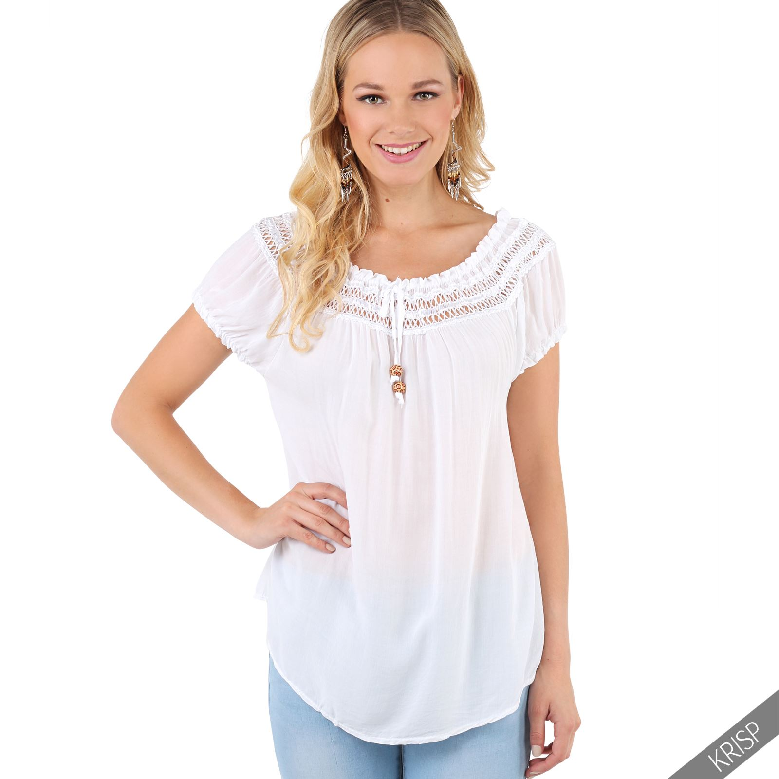 0936690fd3be4a Womens Gypsy Boho Loose Lightweight off Shoulder Top Blouse Summer ...