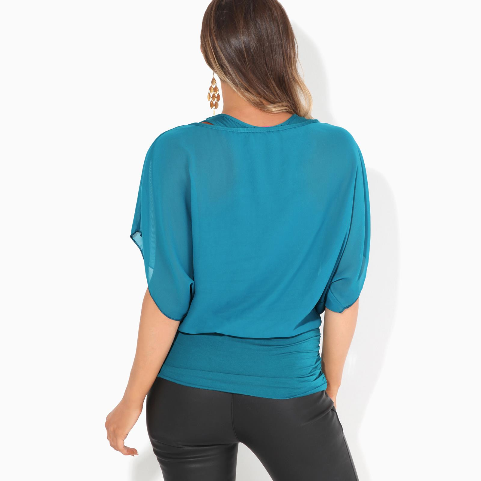 Womens-Scoop-Neck-Blouse-Baggy-Batwing-T-Shirt-Top-Ladies-Oversized-Chiffon-2in1 thumbnail 31