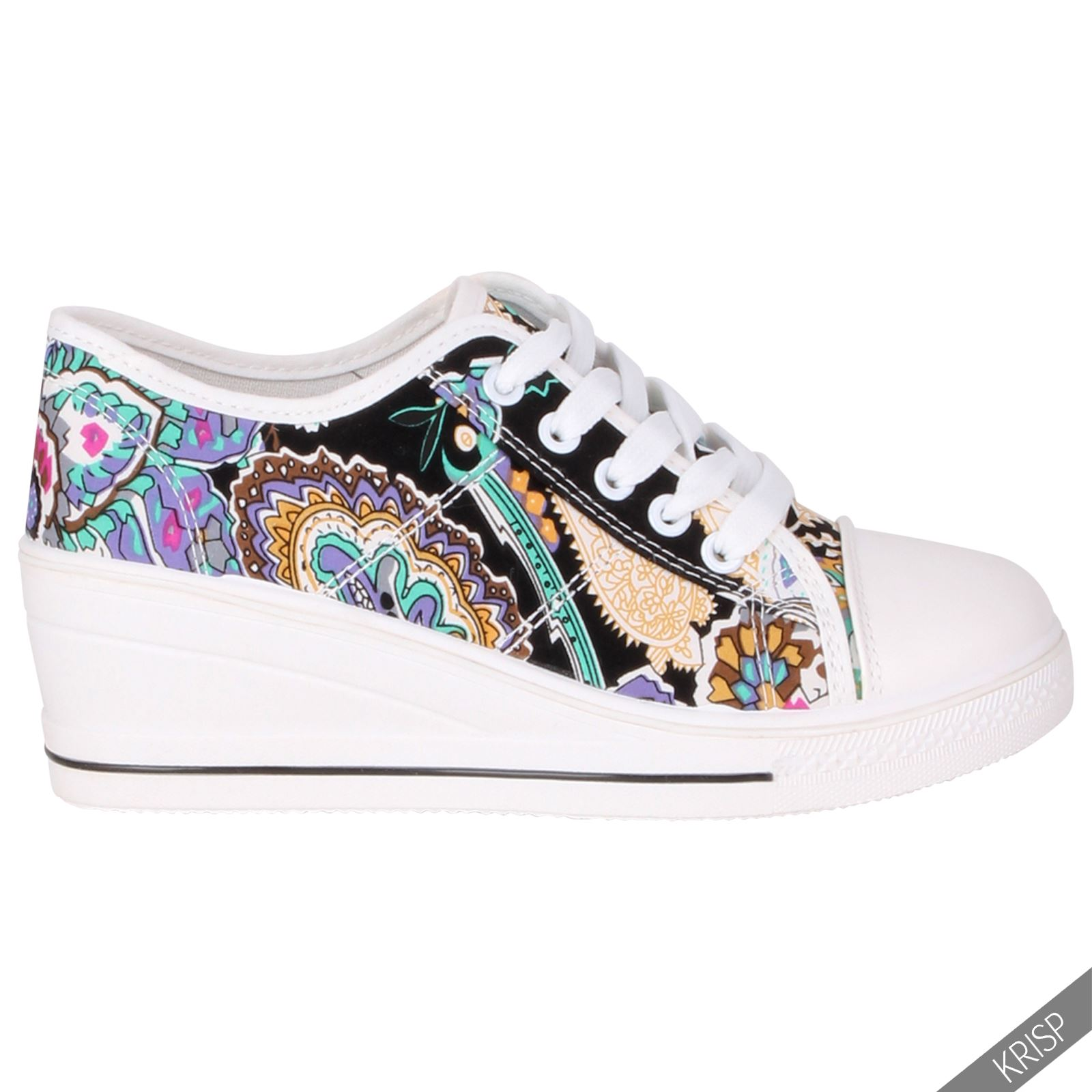 womens canvas high tops heel wedge trainers